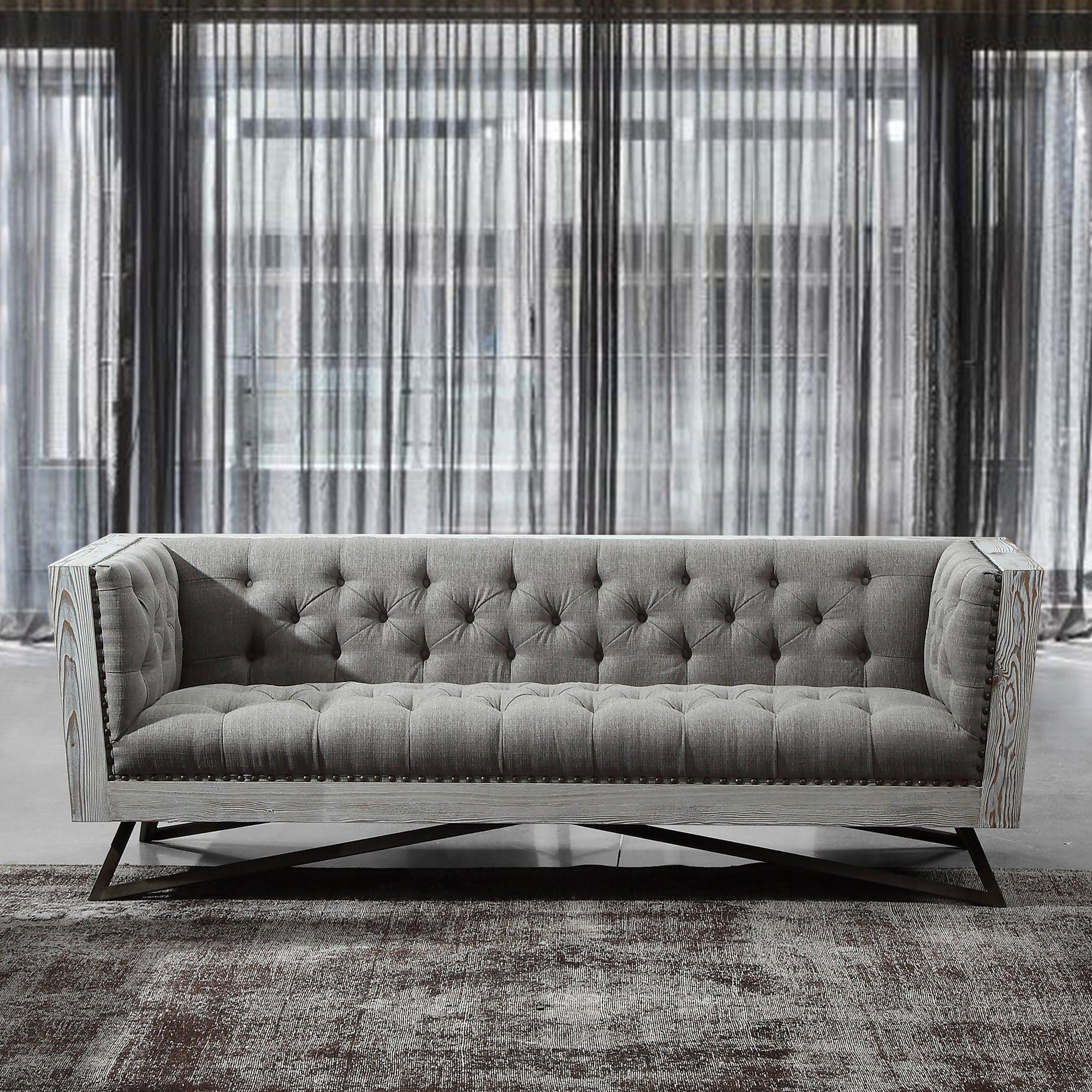 Armen living regis sofa in grey fabric with black metal finish legs