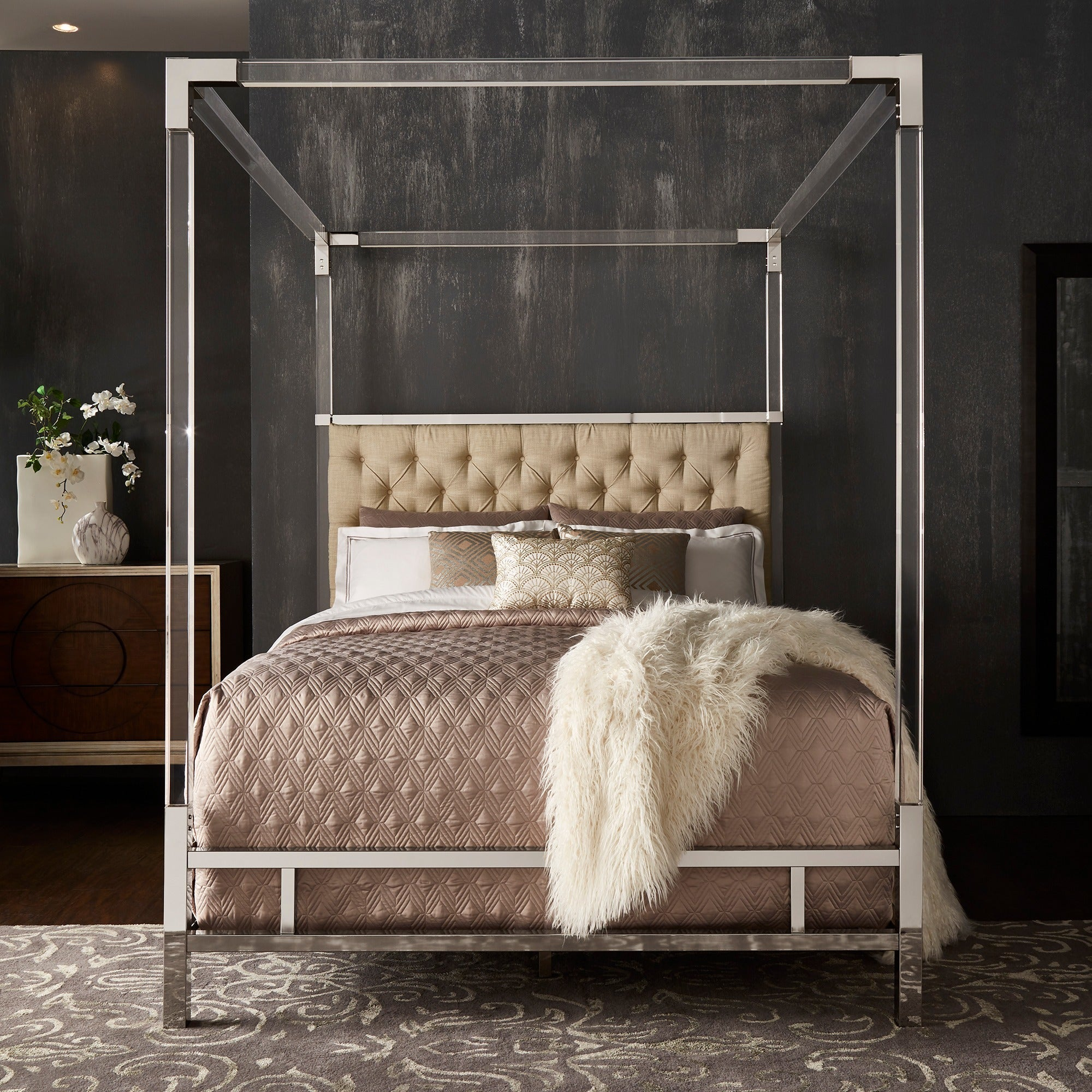 Nice Shop Reid Acrylic And Chrome Canopy Bed With Tufted Headboard By INSPIRE Q  Bold   On Sale   Free Shipping Today   Overstock.com   19448217