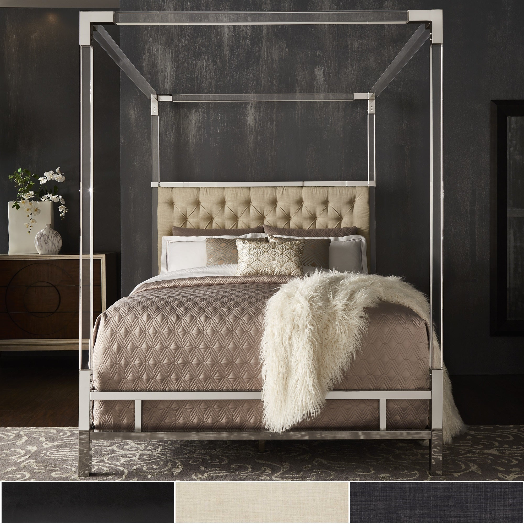 Canopy Bed.Reid Acrylic And Chrome Canopy Bed With Tufted Headboard By Inspire Q Bold