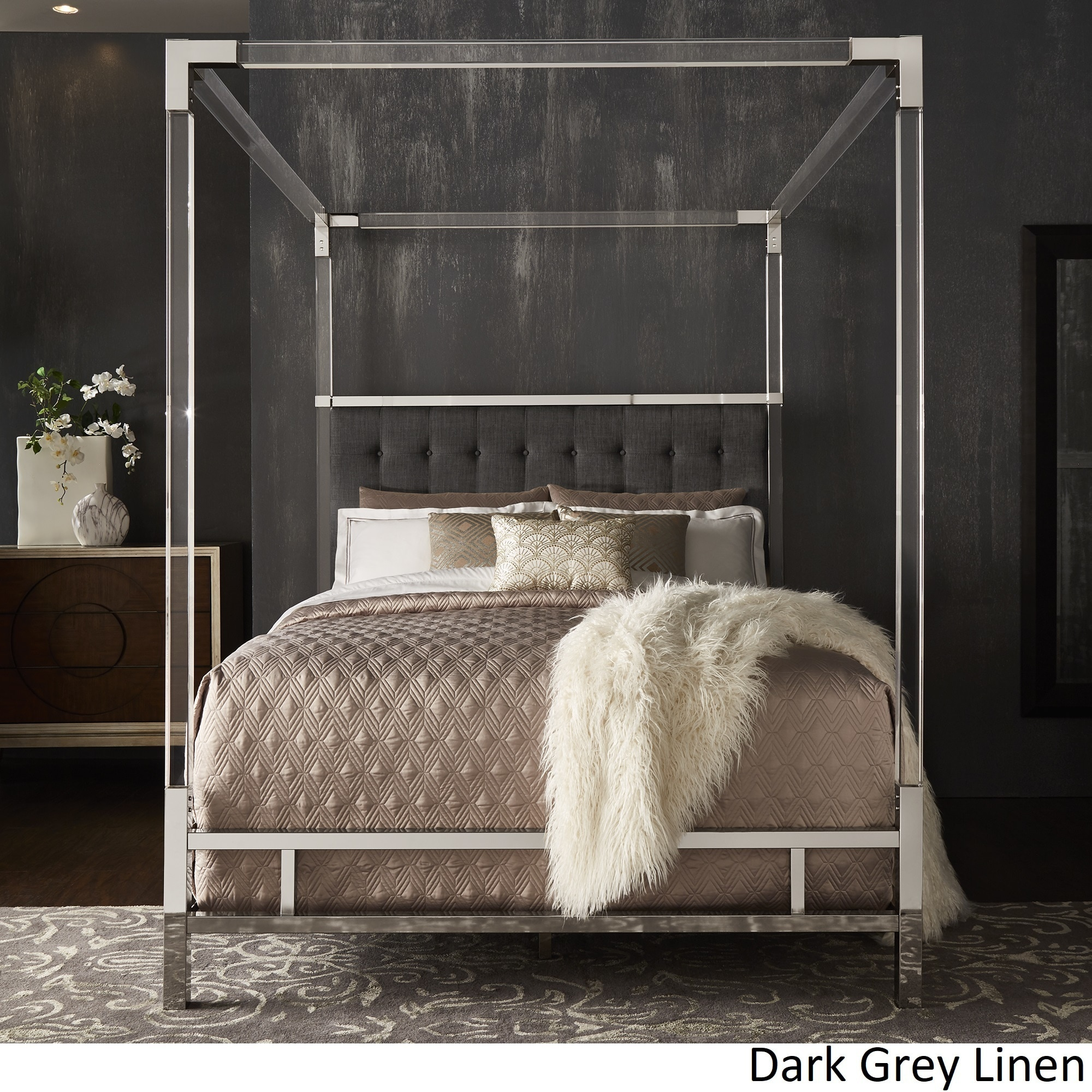 Shop Reid Acrylic and Chrome Canopy Bed with Tufted Headboard by iNSPIRE Q Bold - Free Shipping Today - Overstock - 19448217 & Shop Reid Acrylic and Chrome Canopy Bed with Tufted Headboard by ...