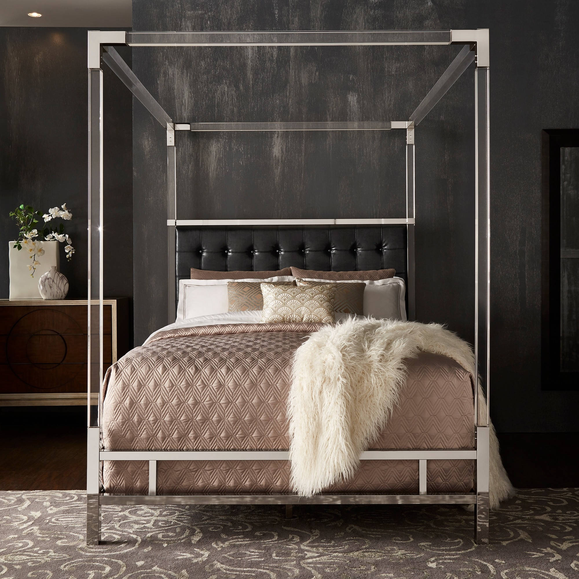 Merveilleux Shop Reid Acrylic And Chrome Canopy Bed With Tufted Headboard By INSPIRE Q  Bold   On Sale   Free Shipping Today   Overstock.com   19448217