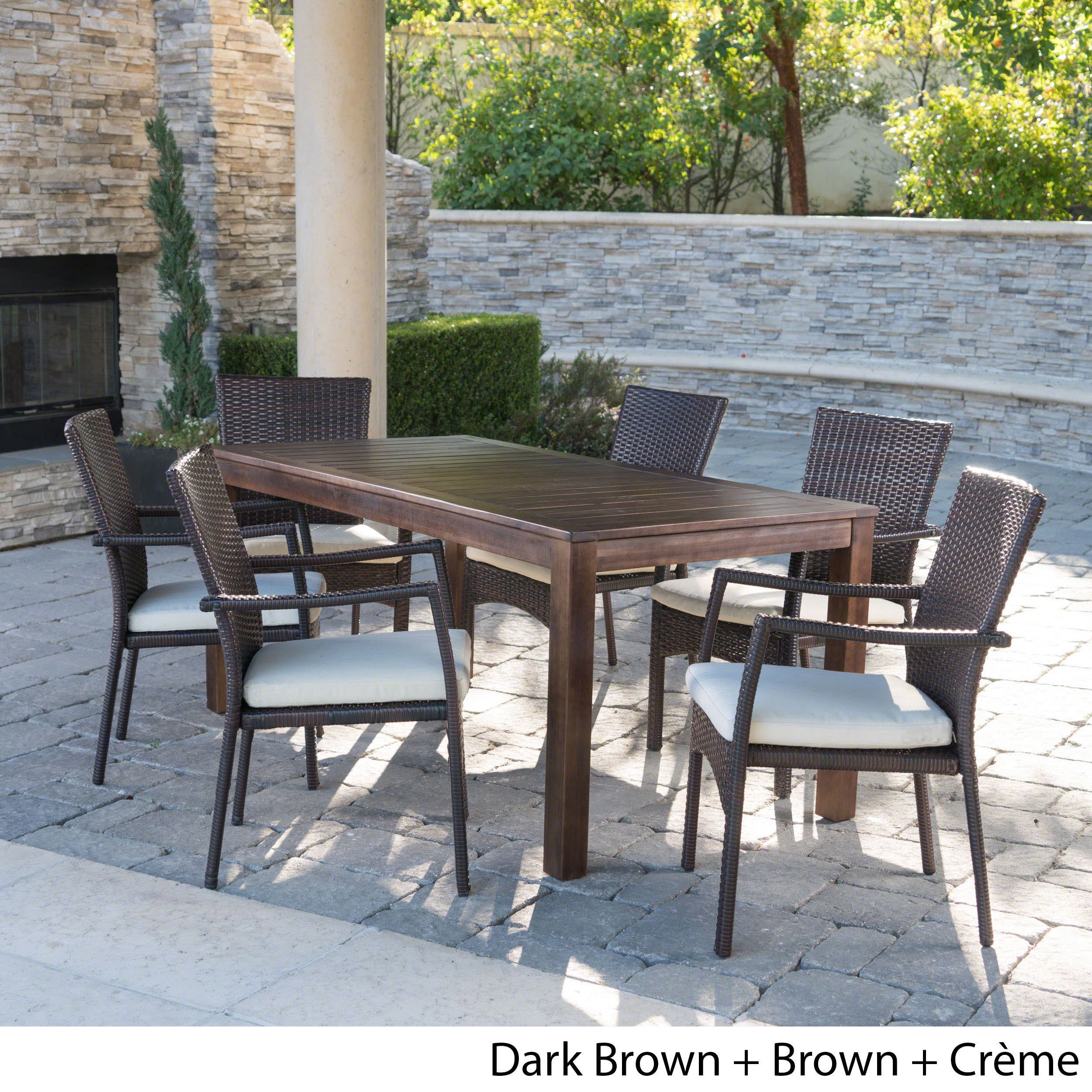 Shop geelong outdoor 7 piece rectangle aluminum wicker wood dining set with cushions by christopher knight home on sale free shipping today overstock
