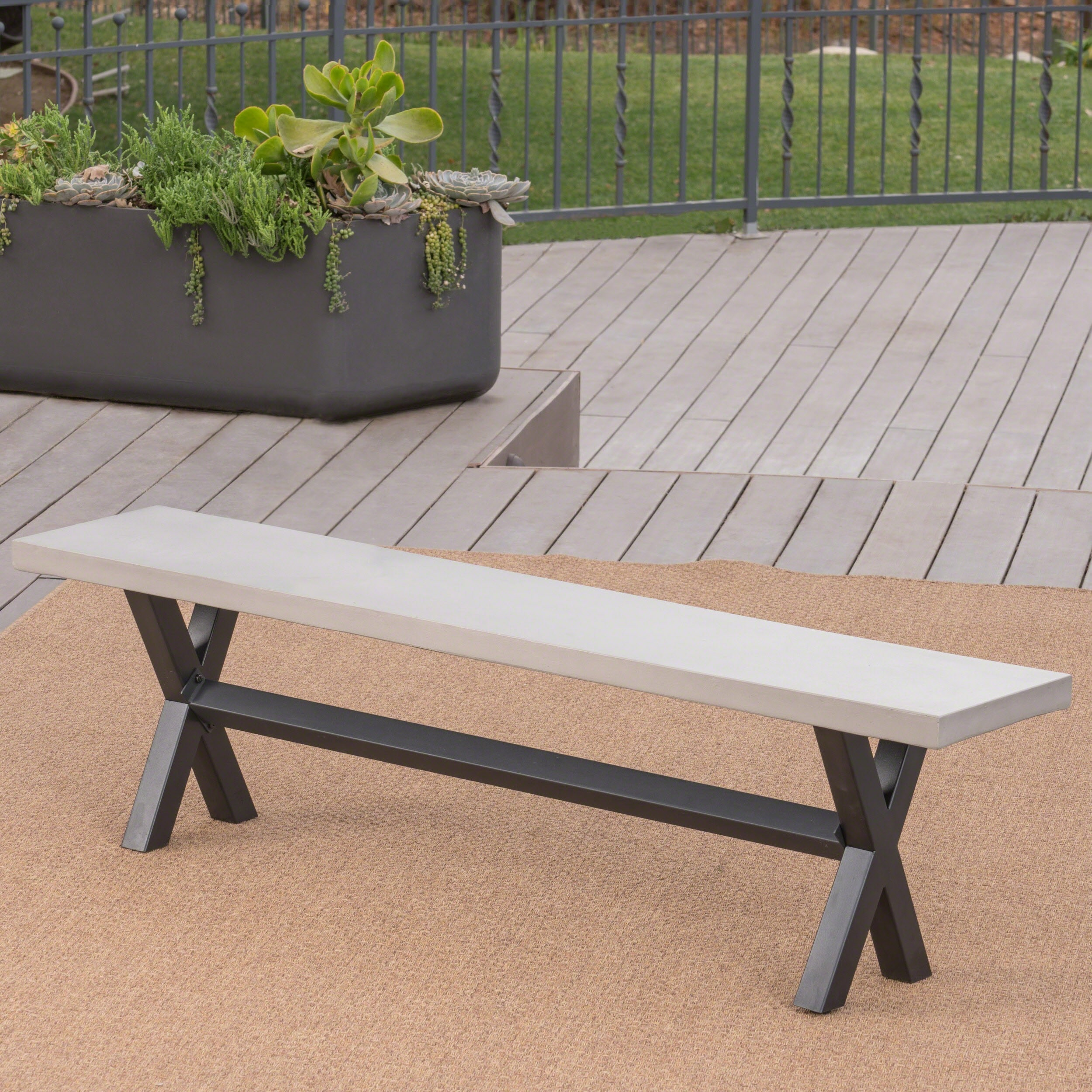 Goleta Outdoor Concrete Dining Bench By Christopher Knight Home On Free Shipping Today 19454911
