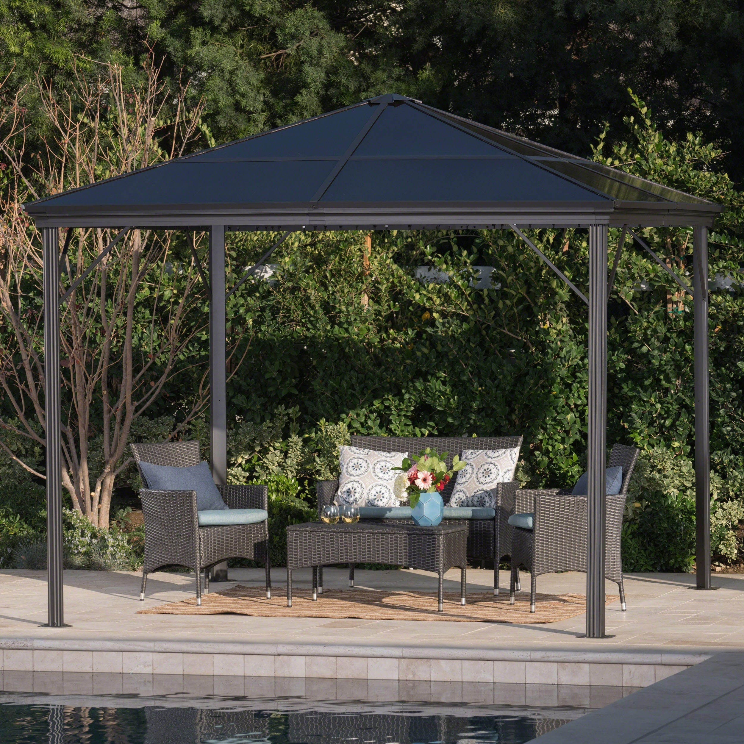 Bailey outdoor 10 ft aluminum gazebo with hardtop by christopher knight home