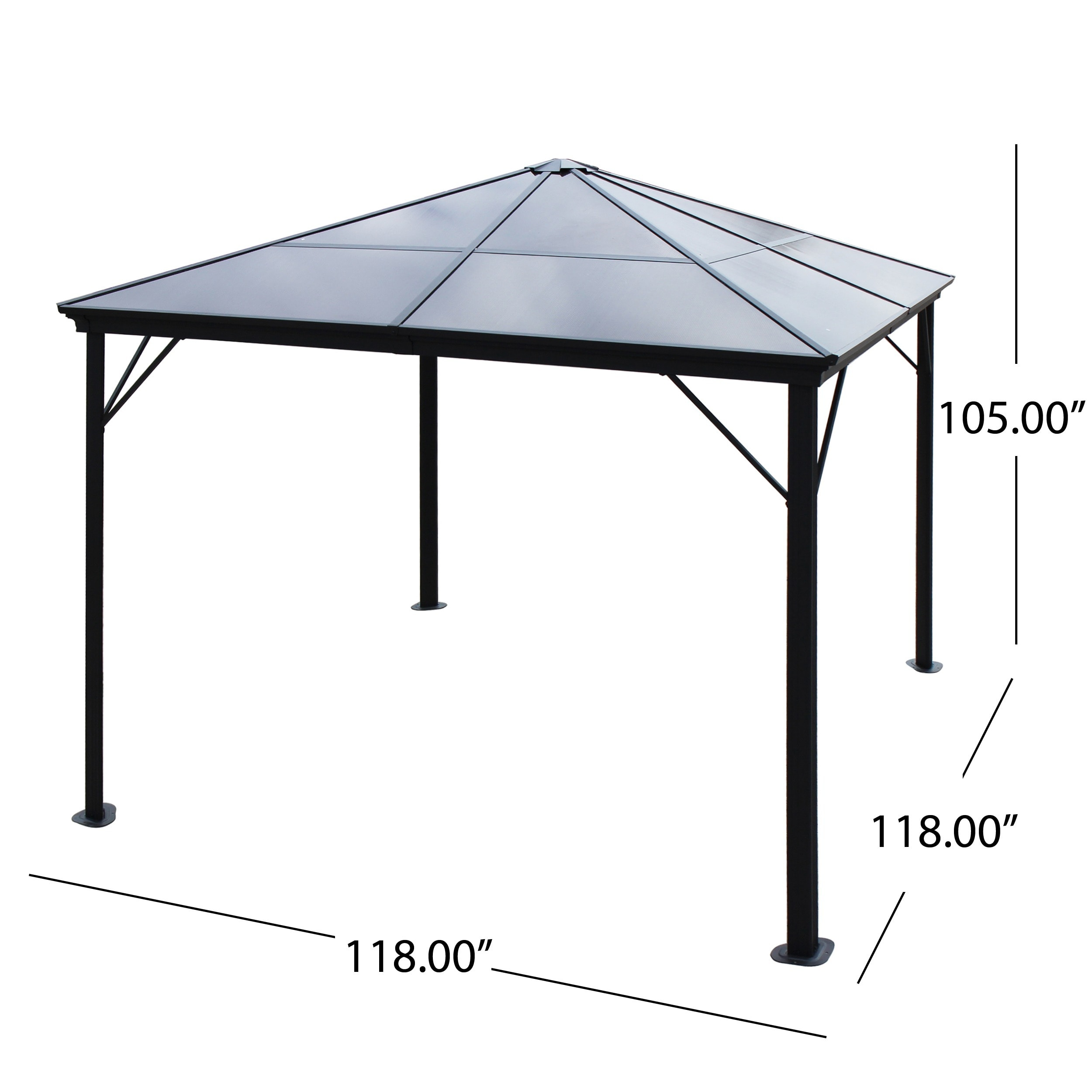 Bailey Outdoor 10 ft. Aluminum Gazebo with Hardtop by Christopher Knight on