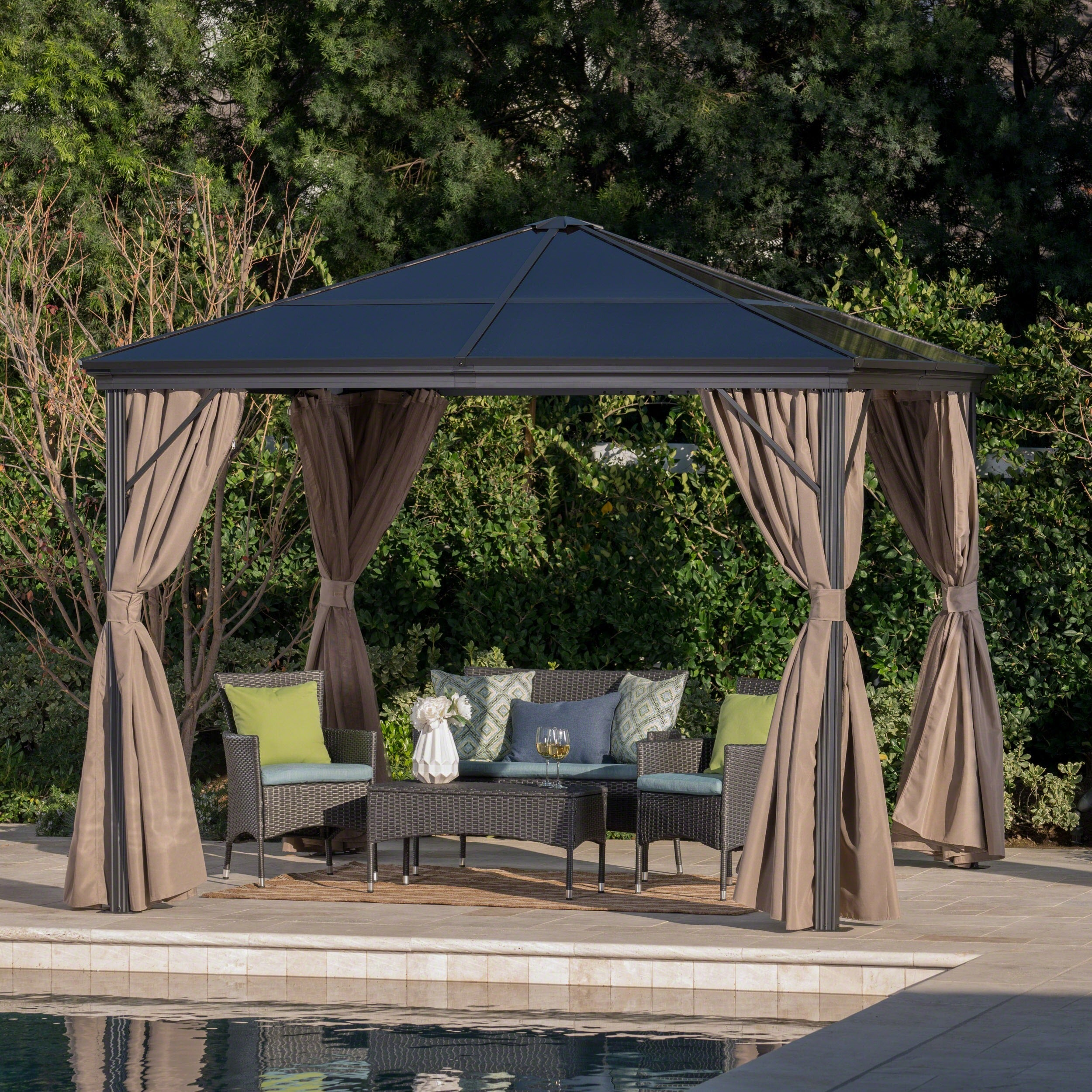 Aruba outdoor 10 ft aluminum gazebo with hardtop by christopher knight home