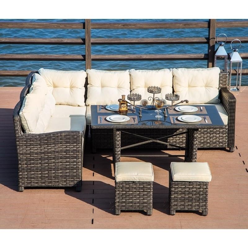 PATIO FESTIVAL ® Monte Carlo Wicker Patio Dining Sofa Set w/ Cushions & Shop PATIO FESTIVAL ® Monte Carlo Wicker Patio Dining Sofa Set w ...