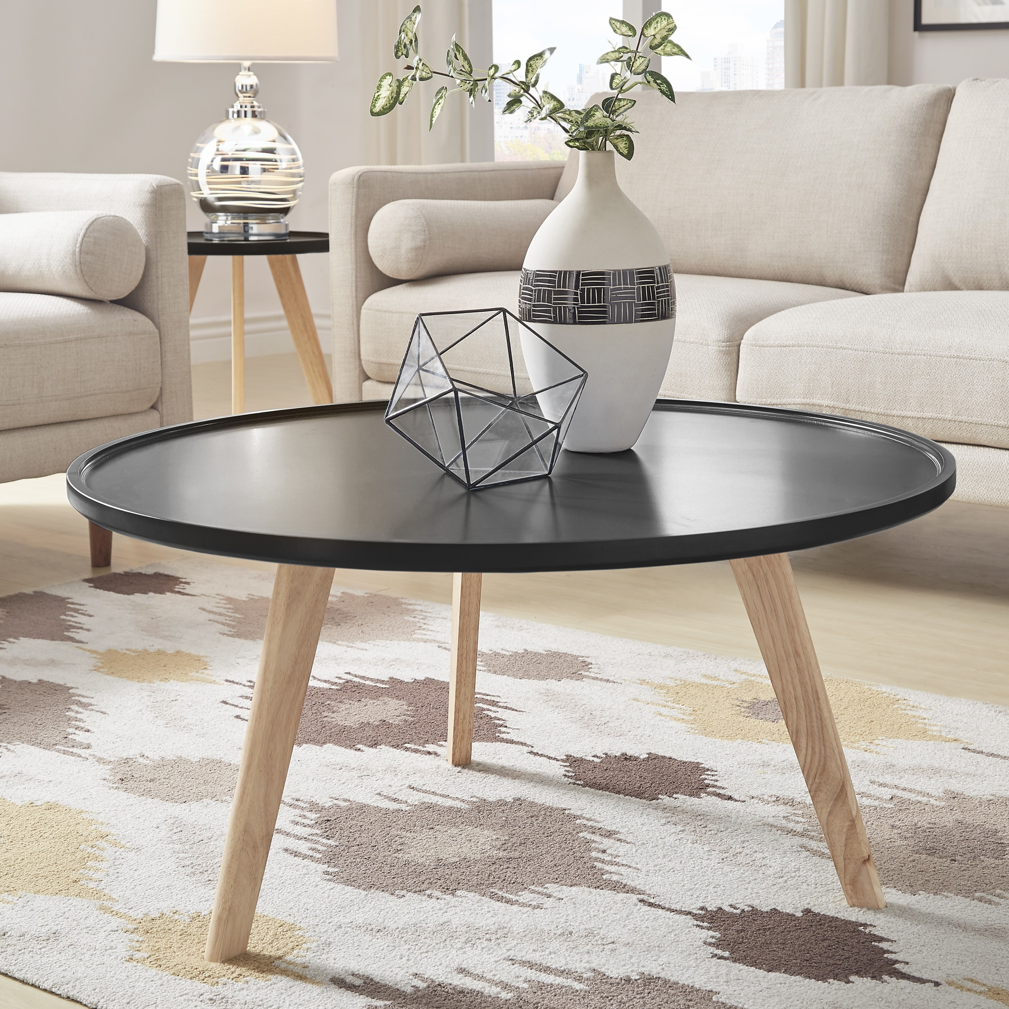 Shop hayden mid century round coffee table by inspire q modern free shipping today overstock com 19457142