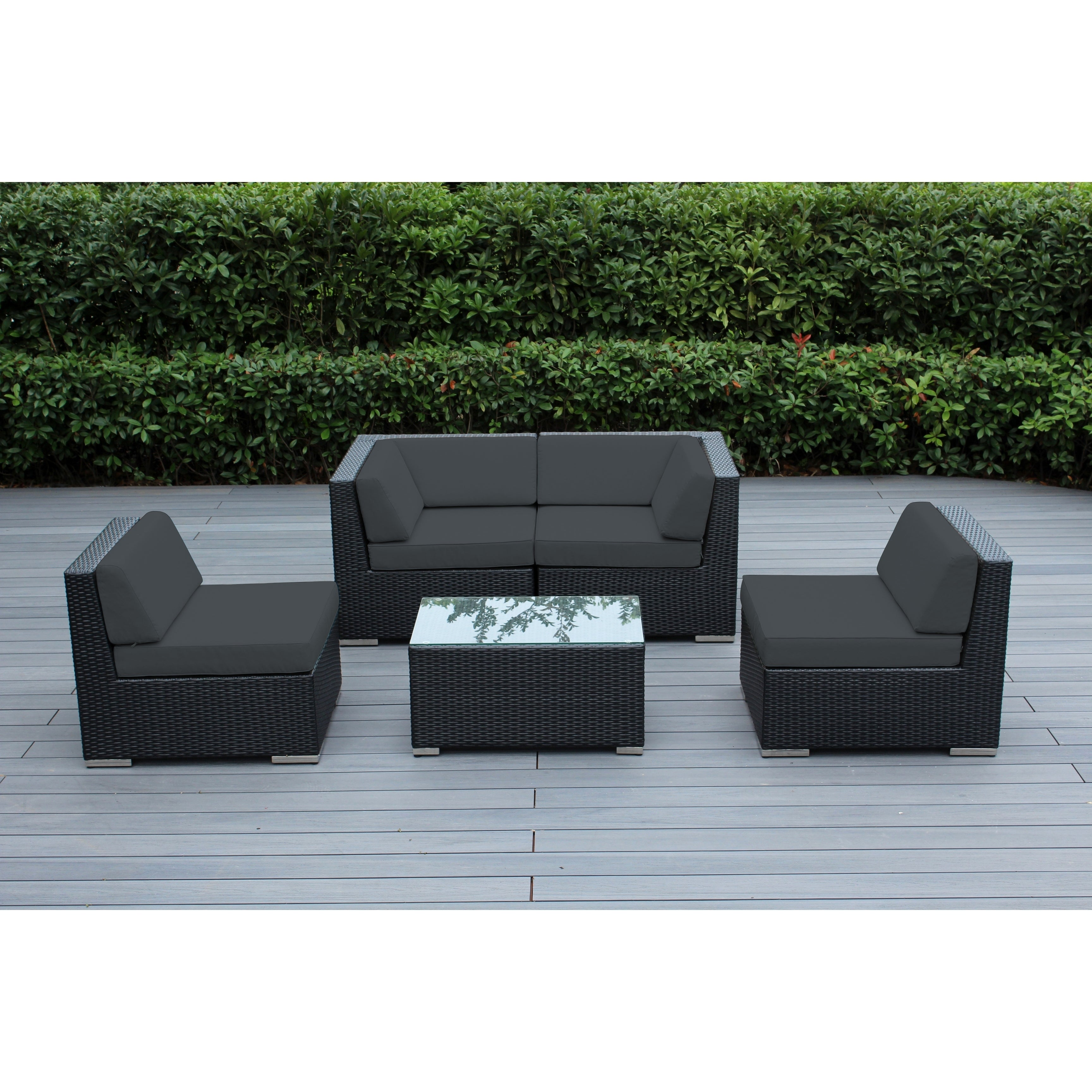Shop ohana outdoor patio 5 piece black wicker conversation set with cushions free shipping today overstock 19459072