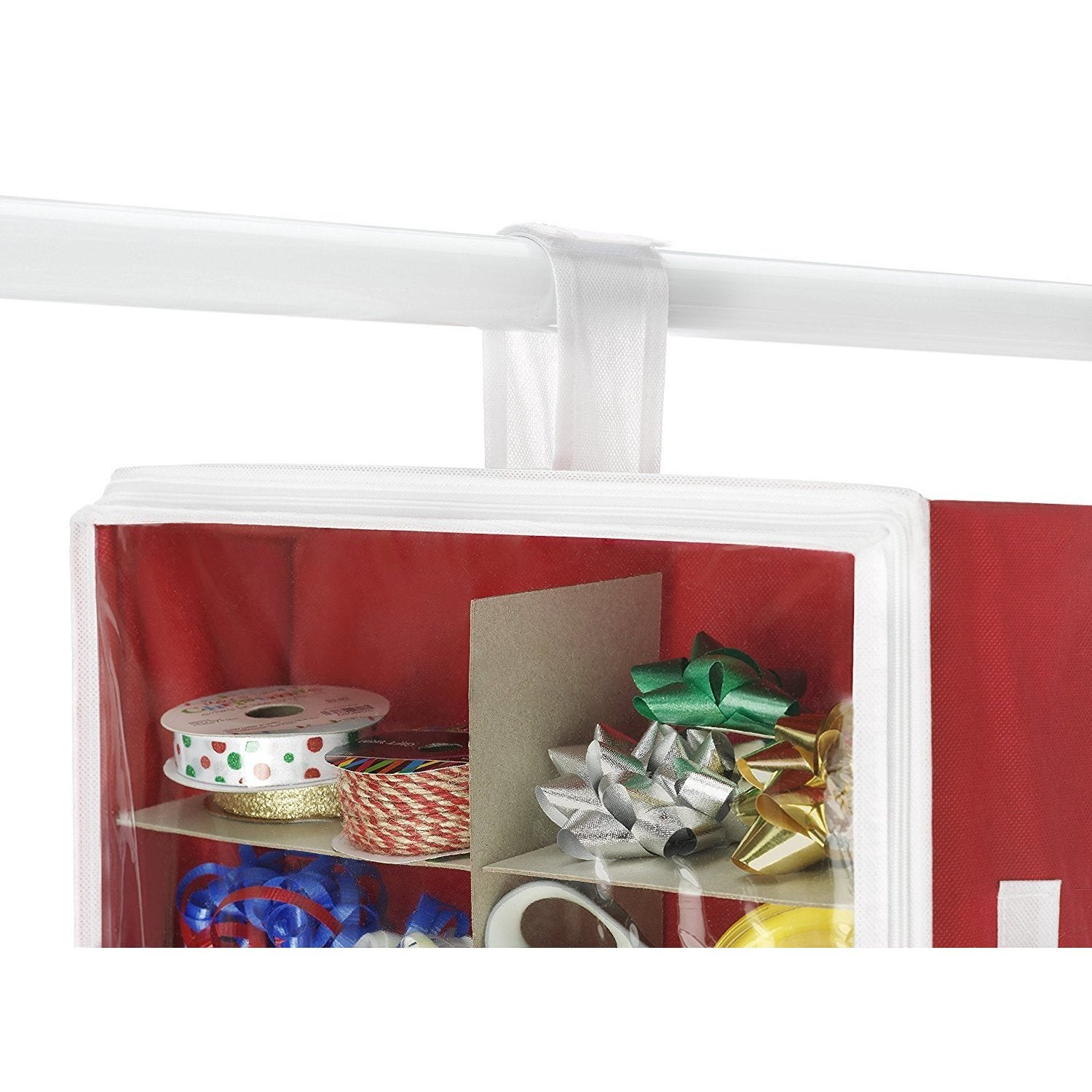 shop whitmor premium clear hanging gift wrapping paper organizer comes with handles perfect for the hol free shipping on orders over 45 overstockcom