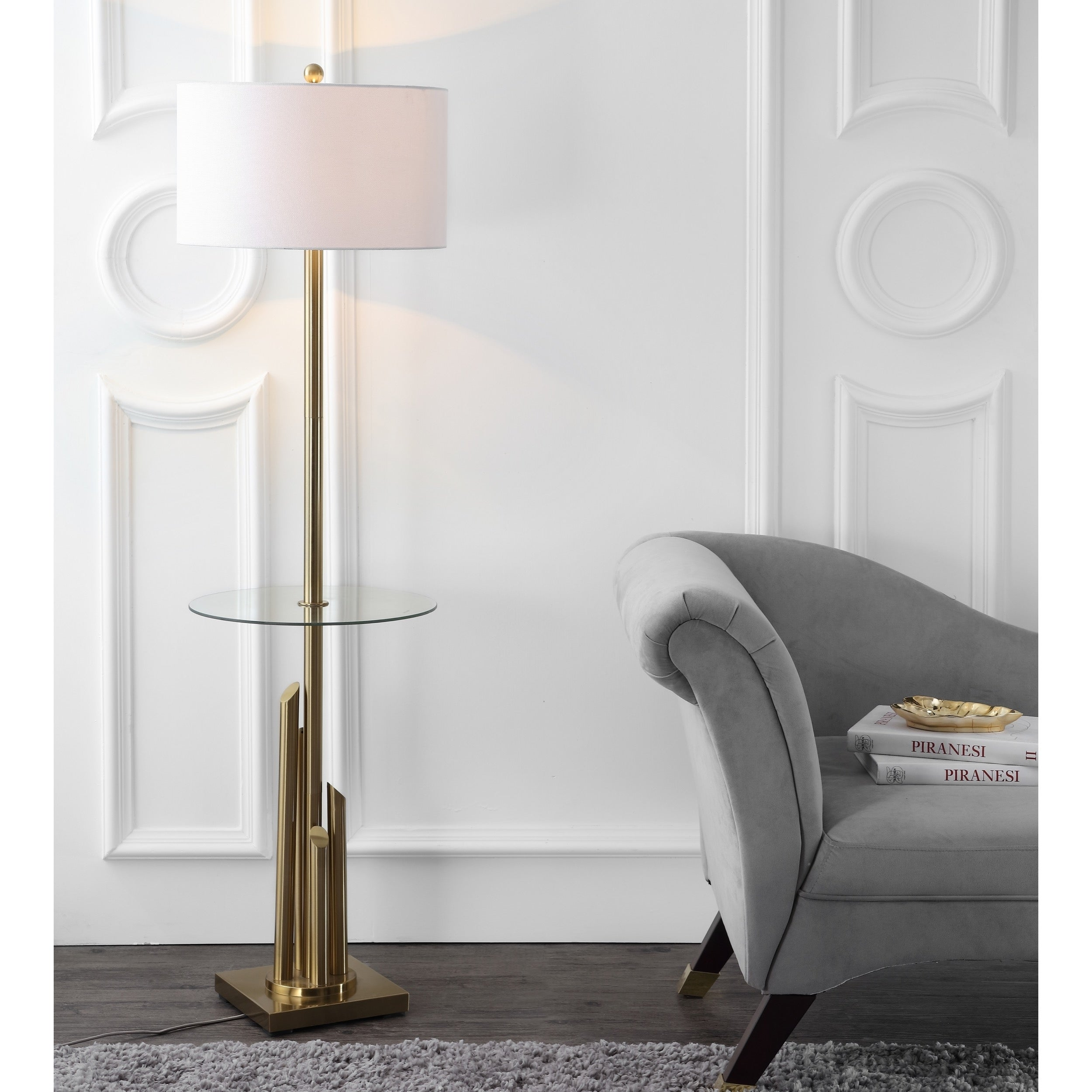 Shop Safavieh Lighting 61 Inch Ambrosio Glass Side Table Floor Lamp