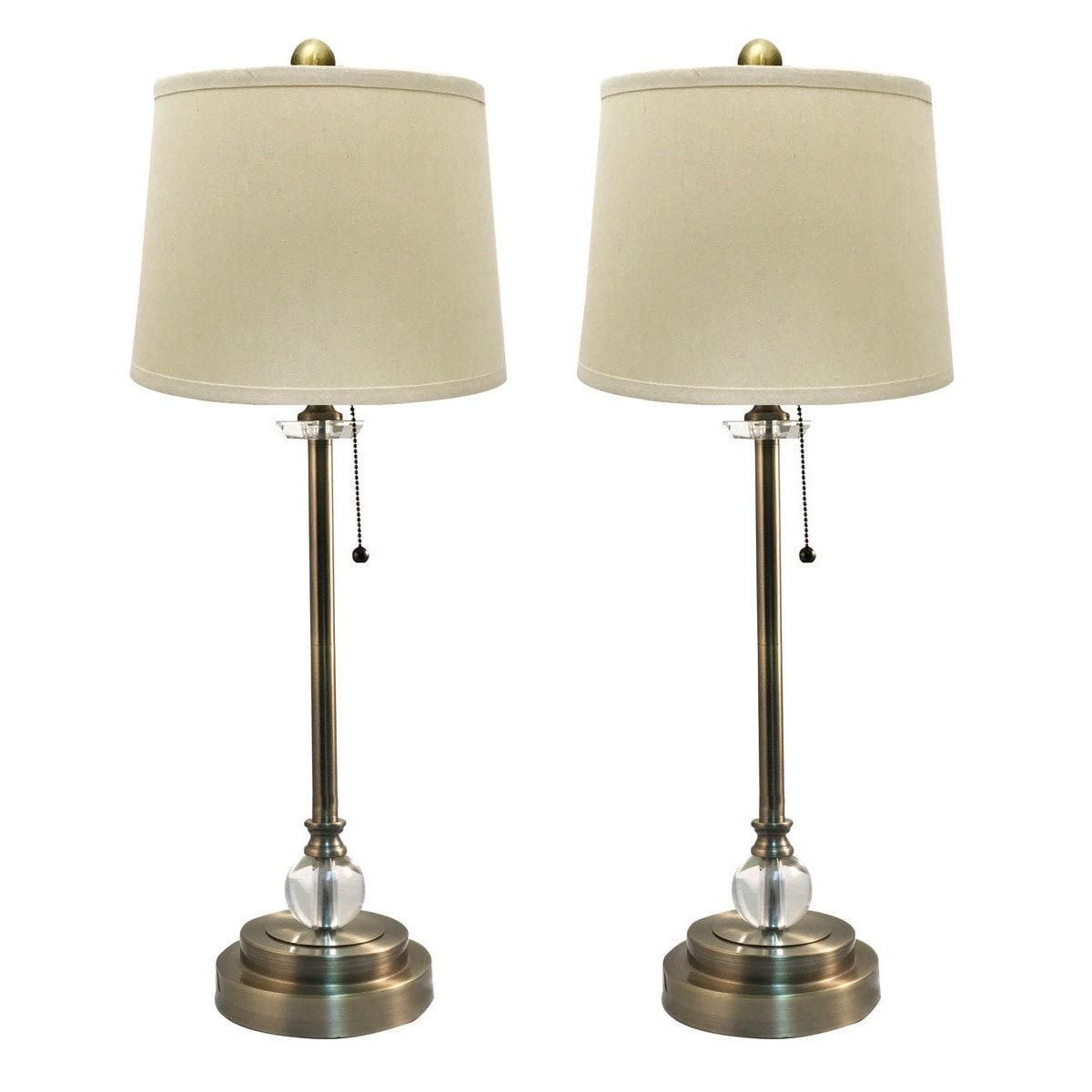 Royal Designs Set Of 2 Buffet Lamps In Antique Br With Linen Cream Hard Back Lamp Shades 27 Tall