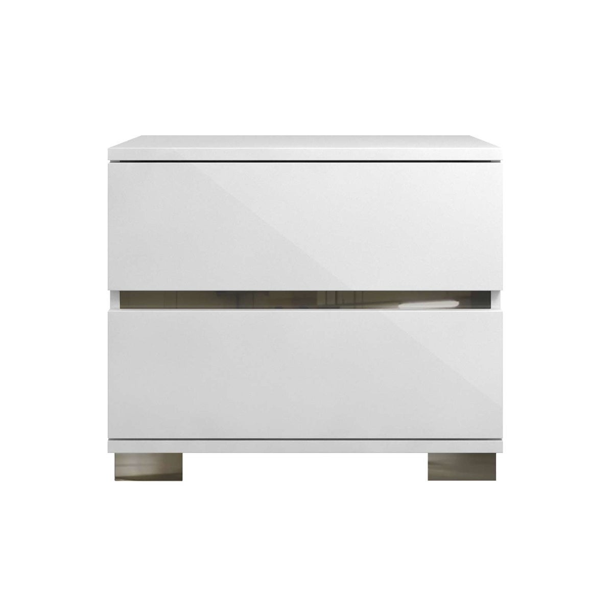 Shop SPARK High Gloss White Lacquer / Stainless Steel Nightstand / End Table  By Talenti Casa   Free Shipping Today   Overstock.com   19468139