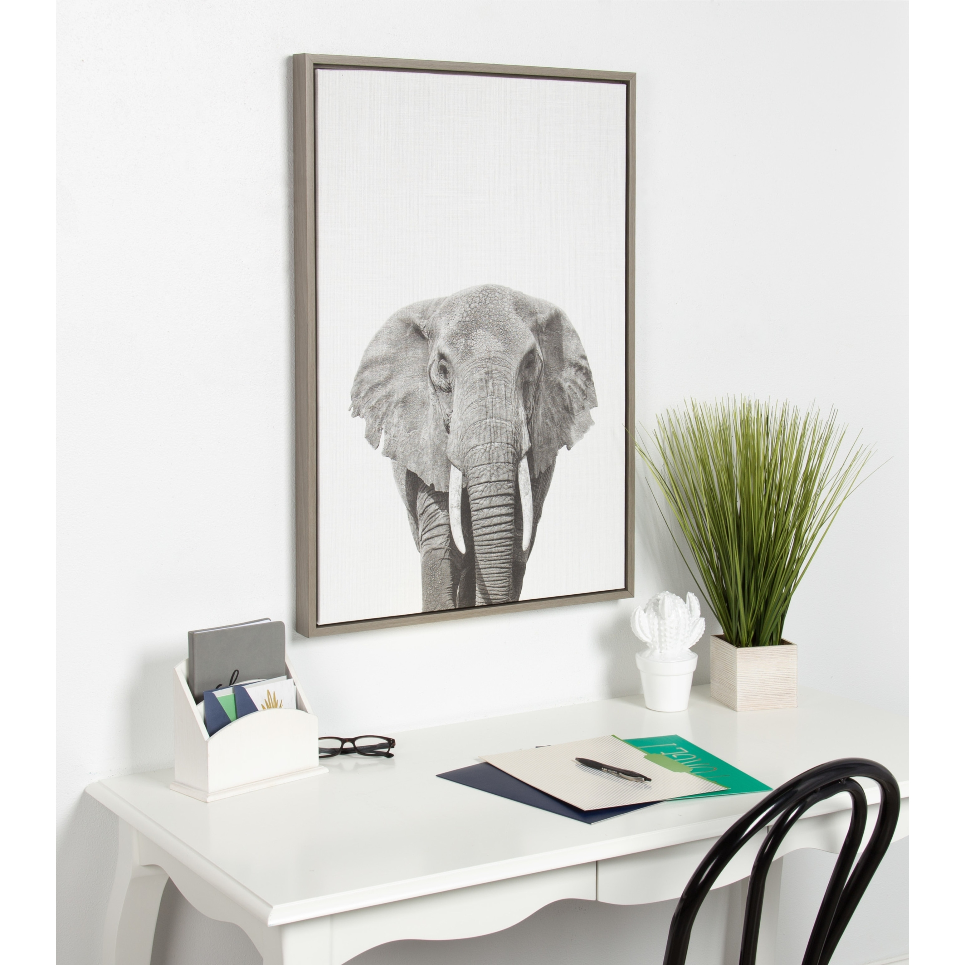 Sylvie Elephant Framed Canvas Wall Art by Simon Te Tai, Gray 23x33 ...