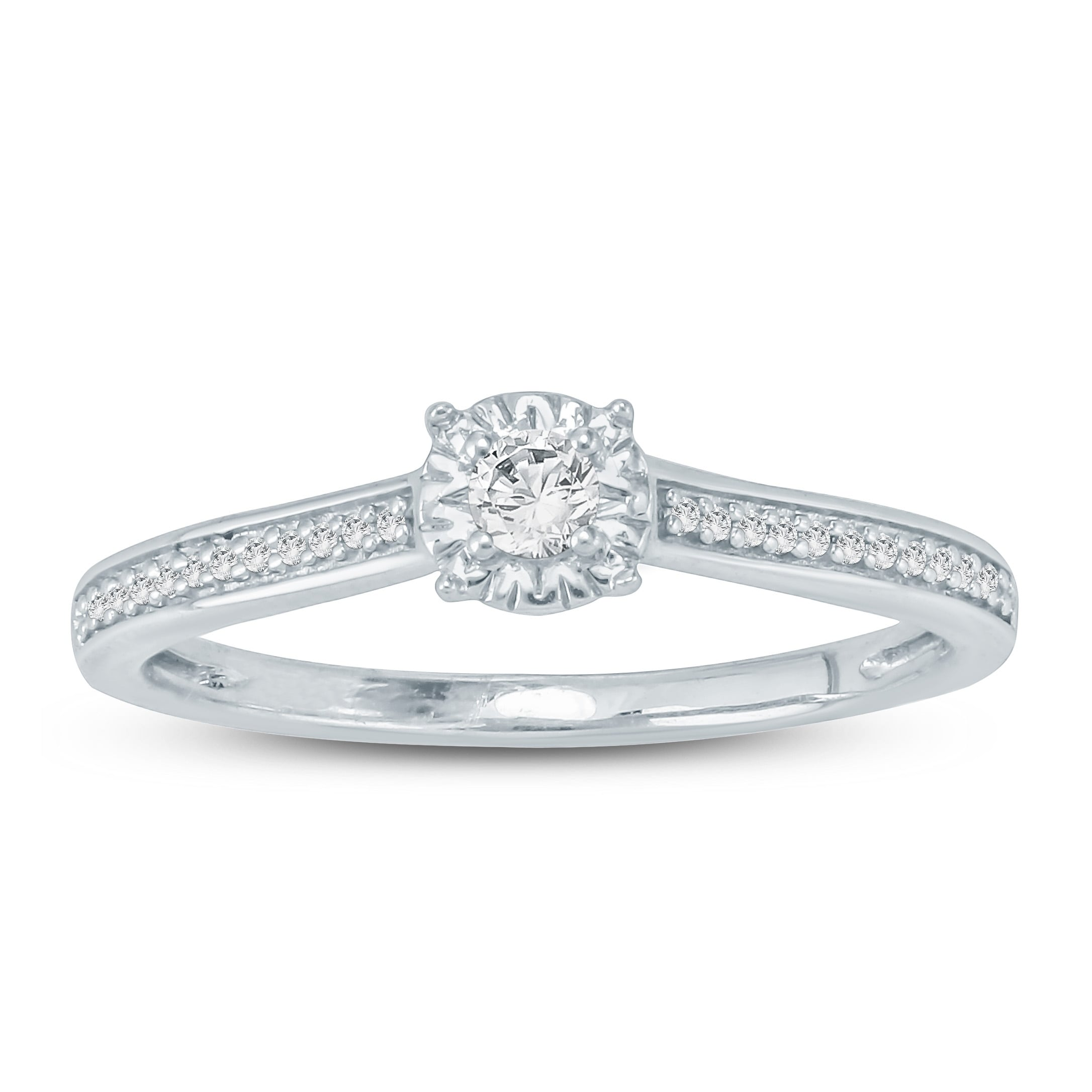 8c6e4e1c0dc18 Cali Trove 1/6 Ct Round Diamond Miracle Plate Promise Ring In 10Kt White  Gold.