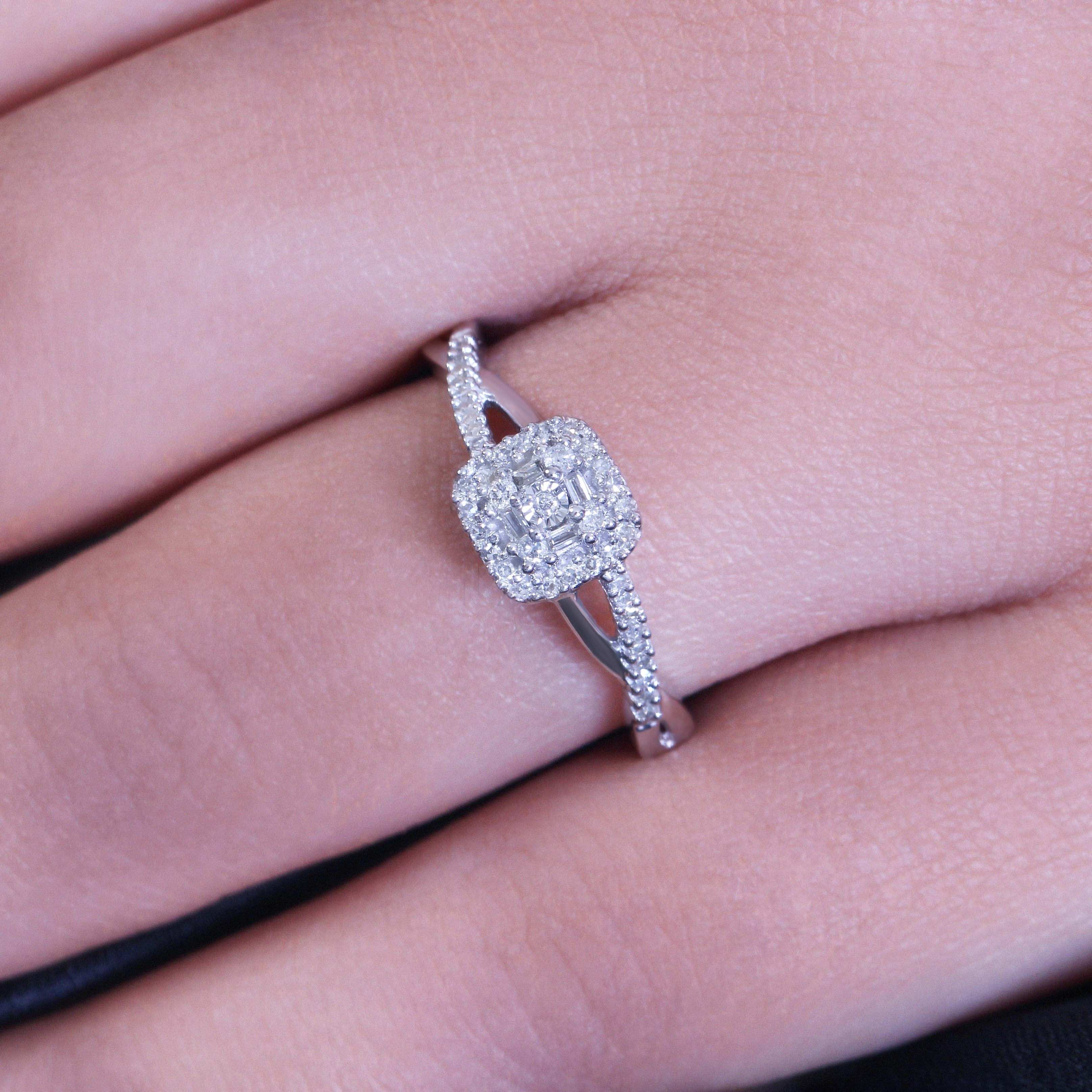 Shop Cali Trove 1/5 Ct Round & Baguette Diamond Cluster Promise Ring ...