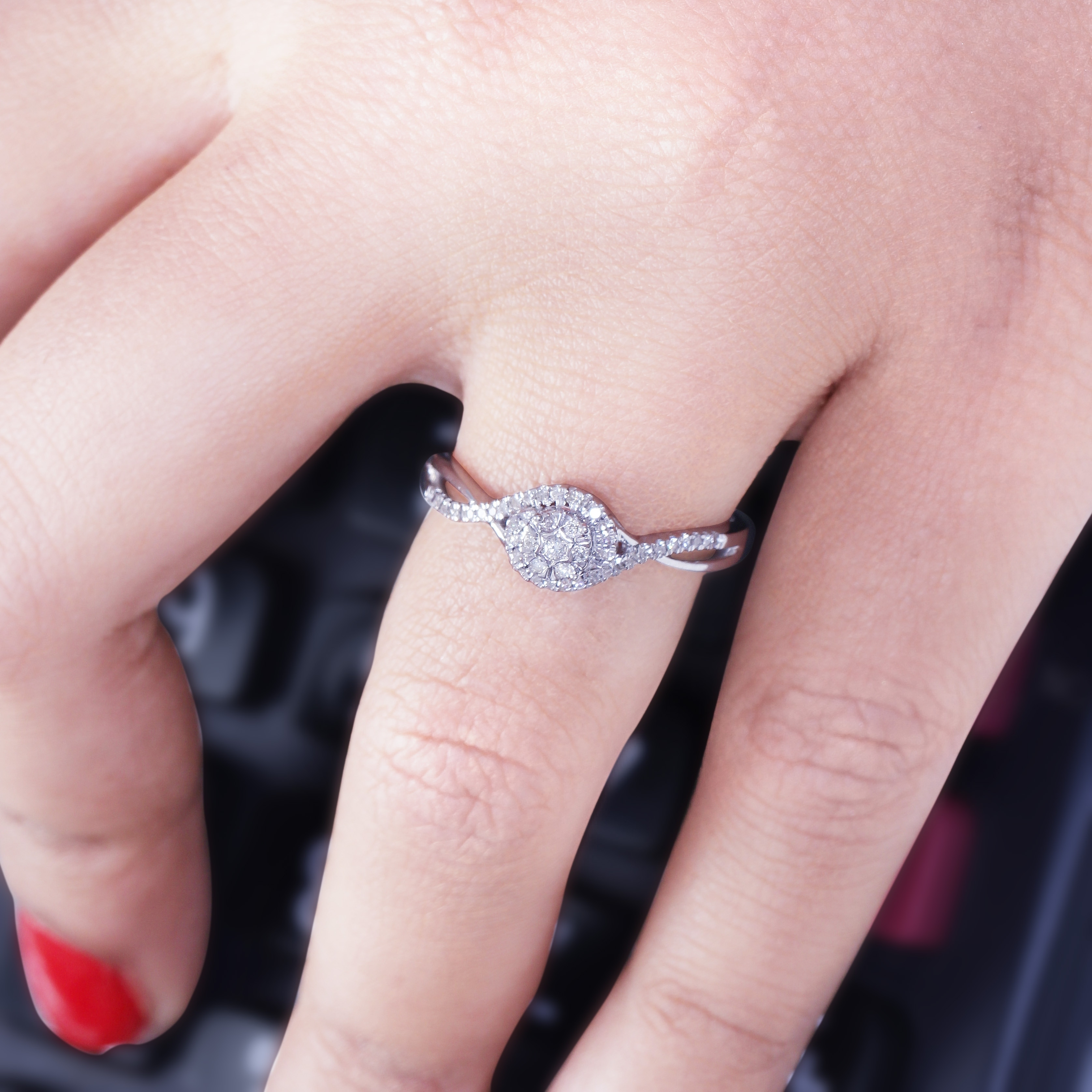 Cali Trove 1/6 Ct Round Diamond Cluster Promise Ring In Sterling ...