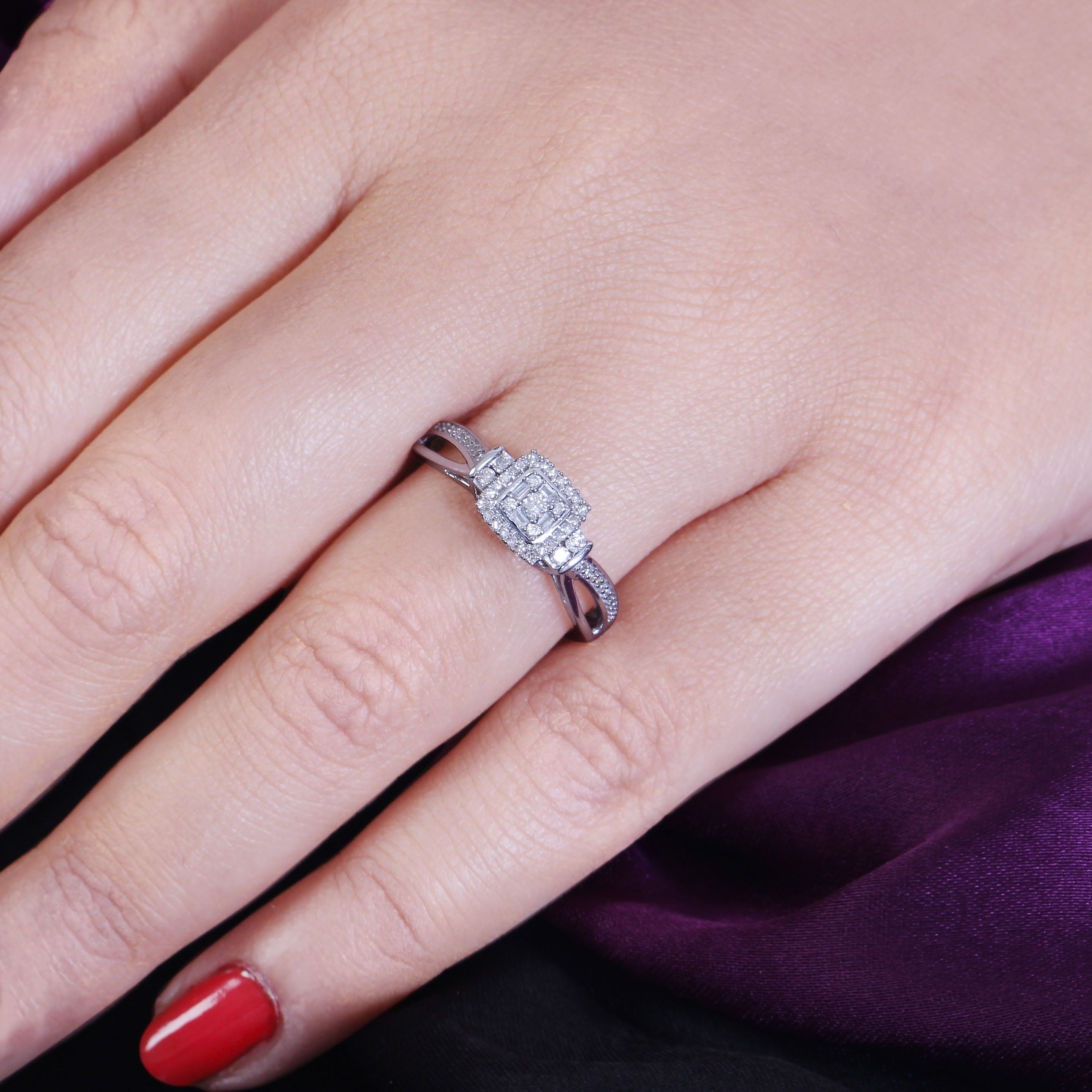 Shop Cali Trove 1/4 Ct Round & Baguette Diamond Cluster Promise Ring ...