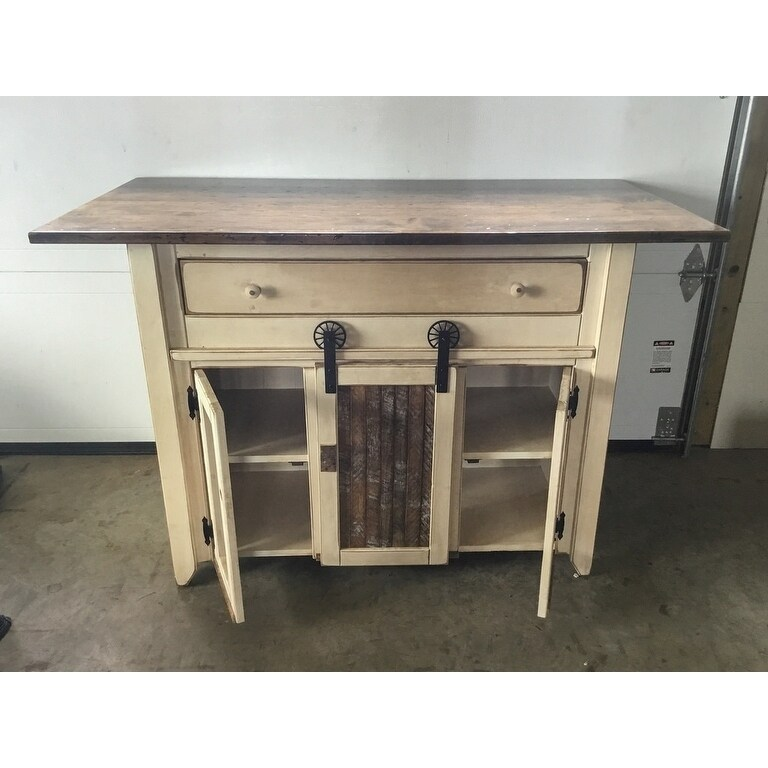 Shop Primitive Wood Kitchen Island In Counter Height With Barn Door And  Stools   Free Shipping Today   Overstock.com   19469155