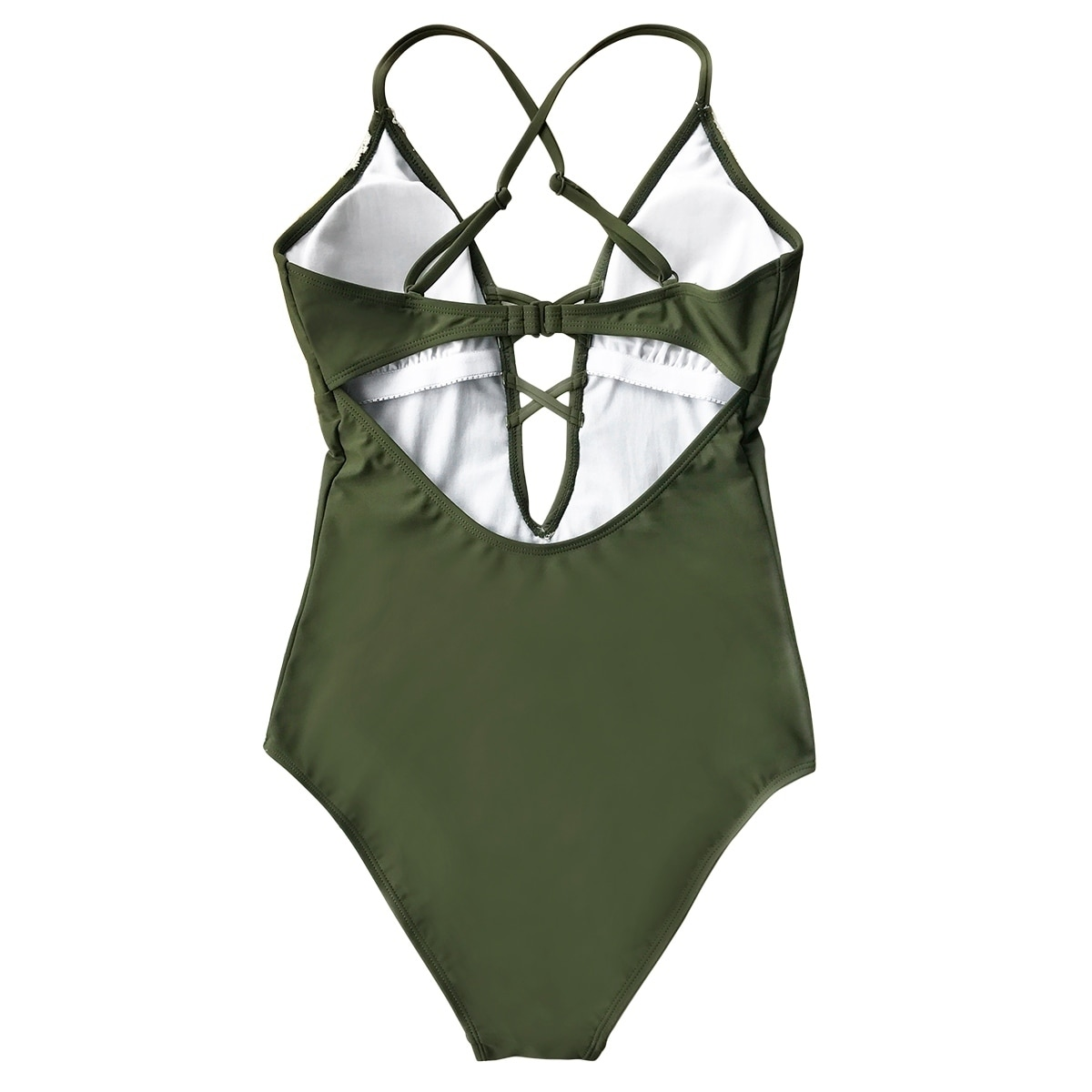 068146baca Shop Cupshe Women's Solid Color Vintage Lace Hem Deep V neck One Piece  Swimsuit Padded Swimwear Bathing Suit - Free Shipping On Orders Over $45 -  Overstock ...