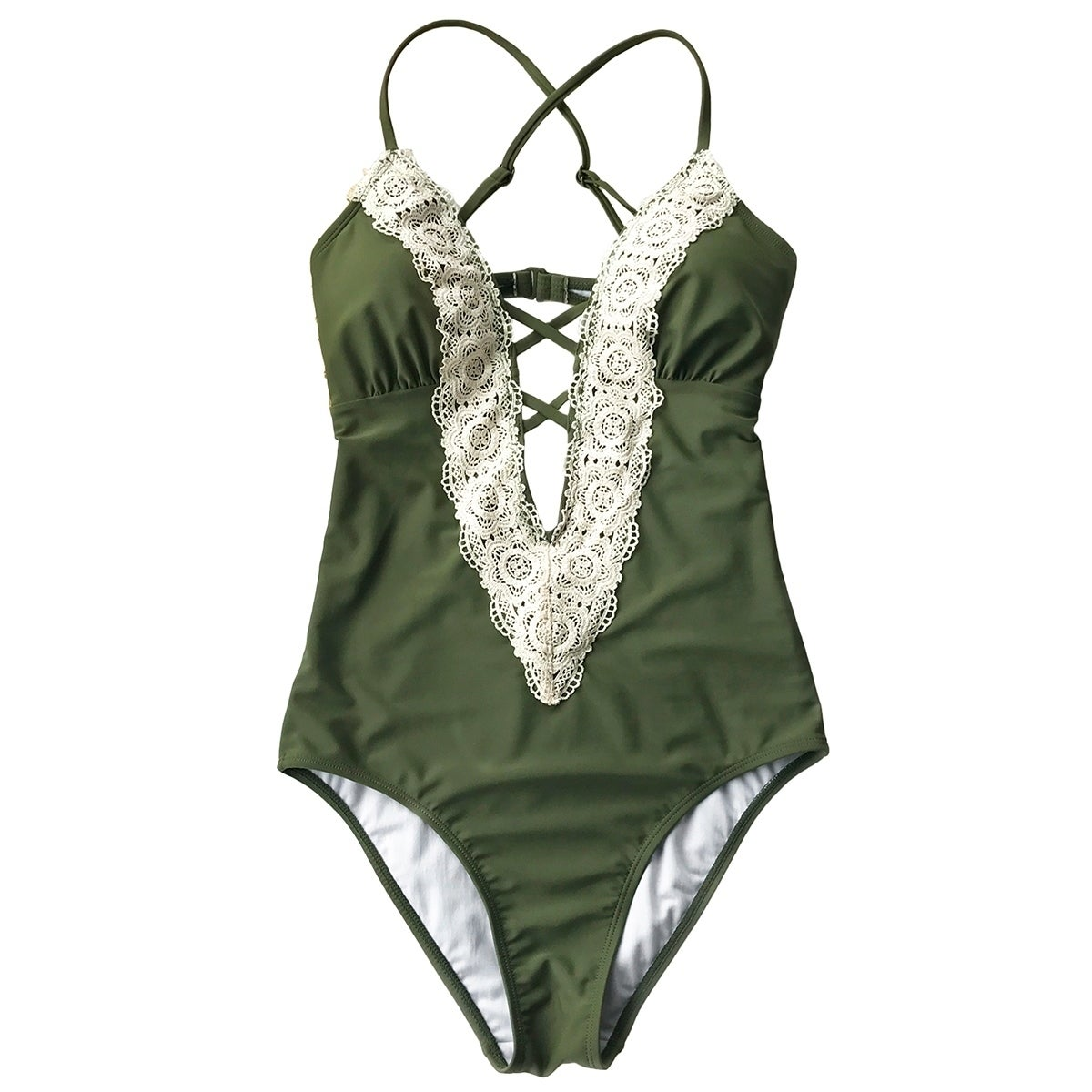 1b31777fd05 Cupshe Women's Solid Color Vintage Lace Hem Deep V neck One Piece Swimsuit  Padded Swimwear Bathing Suit