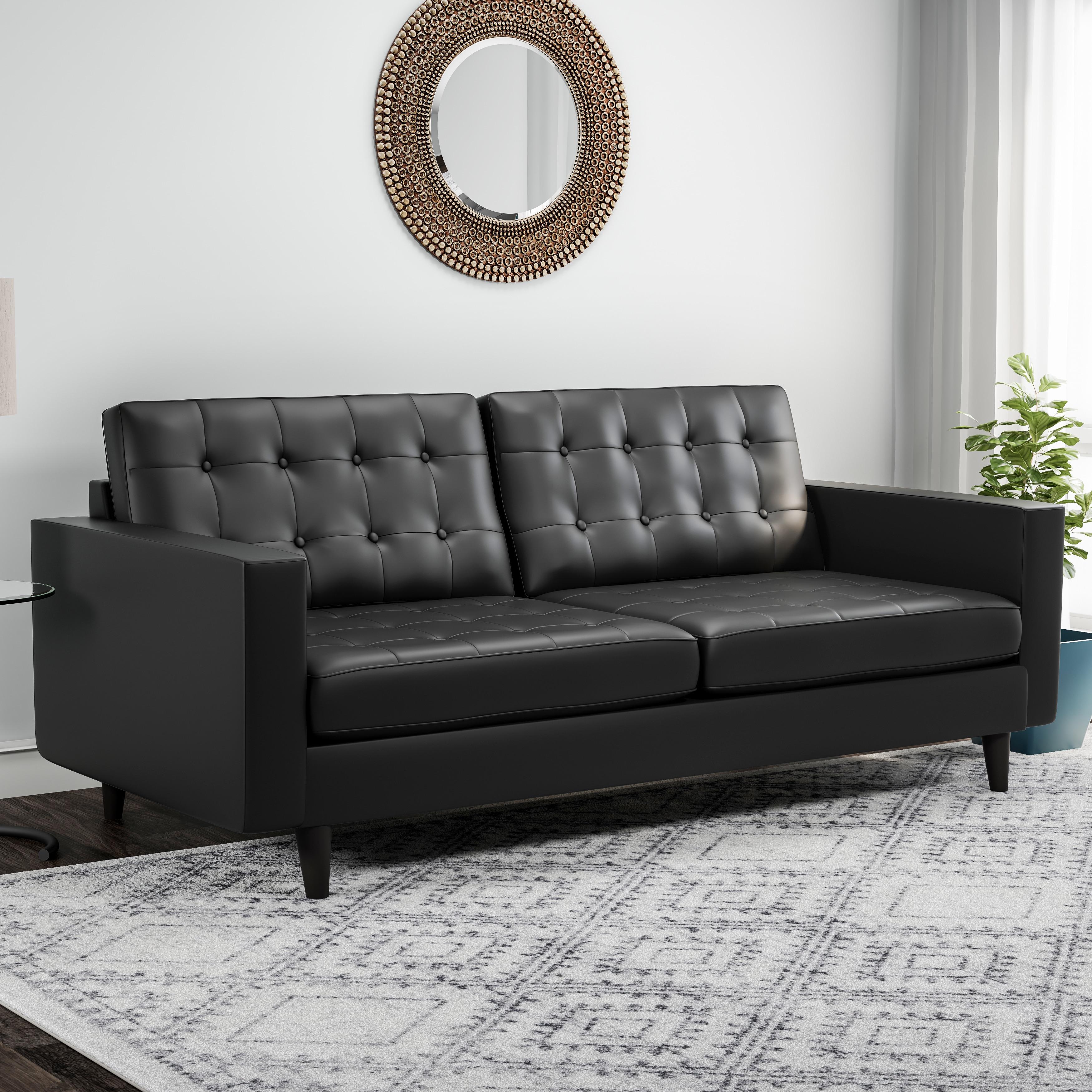 Carson Carrington Eggedal Tufted Bonded Leather Sofa Free Shipping Today 19473321