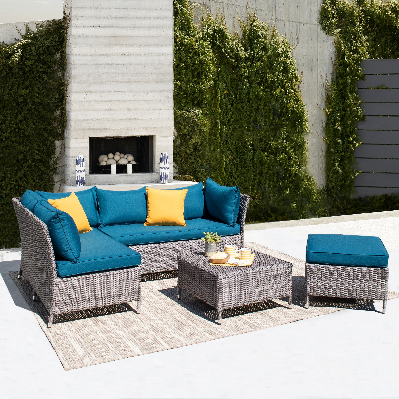 Corvus Bellanger 4 Piece Grey Wicker Aluminum Patio Sofa Set