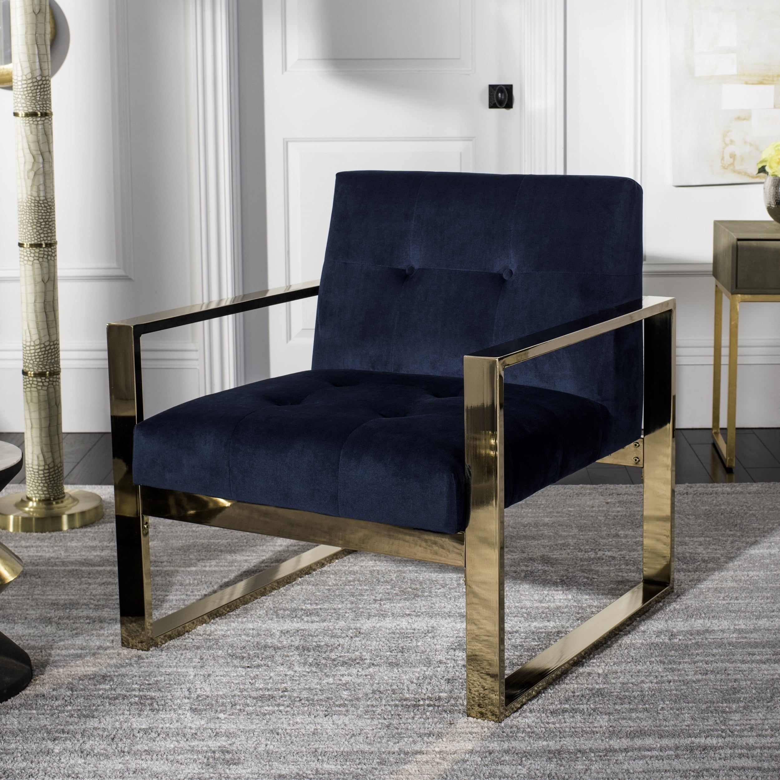 Shop safavieh vasco glam navy accent chair free shipping today overstock com 19478868