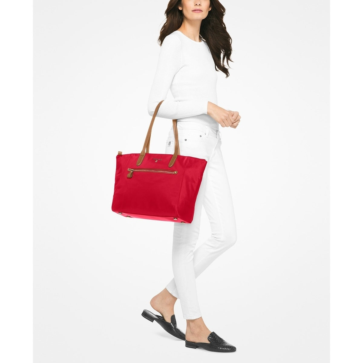 f1b6e5cf4c19 Shop MICHAEL Michael Kors Kelsey Large Top-Zip Tote Bright Red - Free  Shipping Today - Overstock - 19482793
