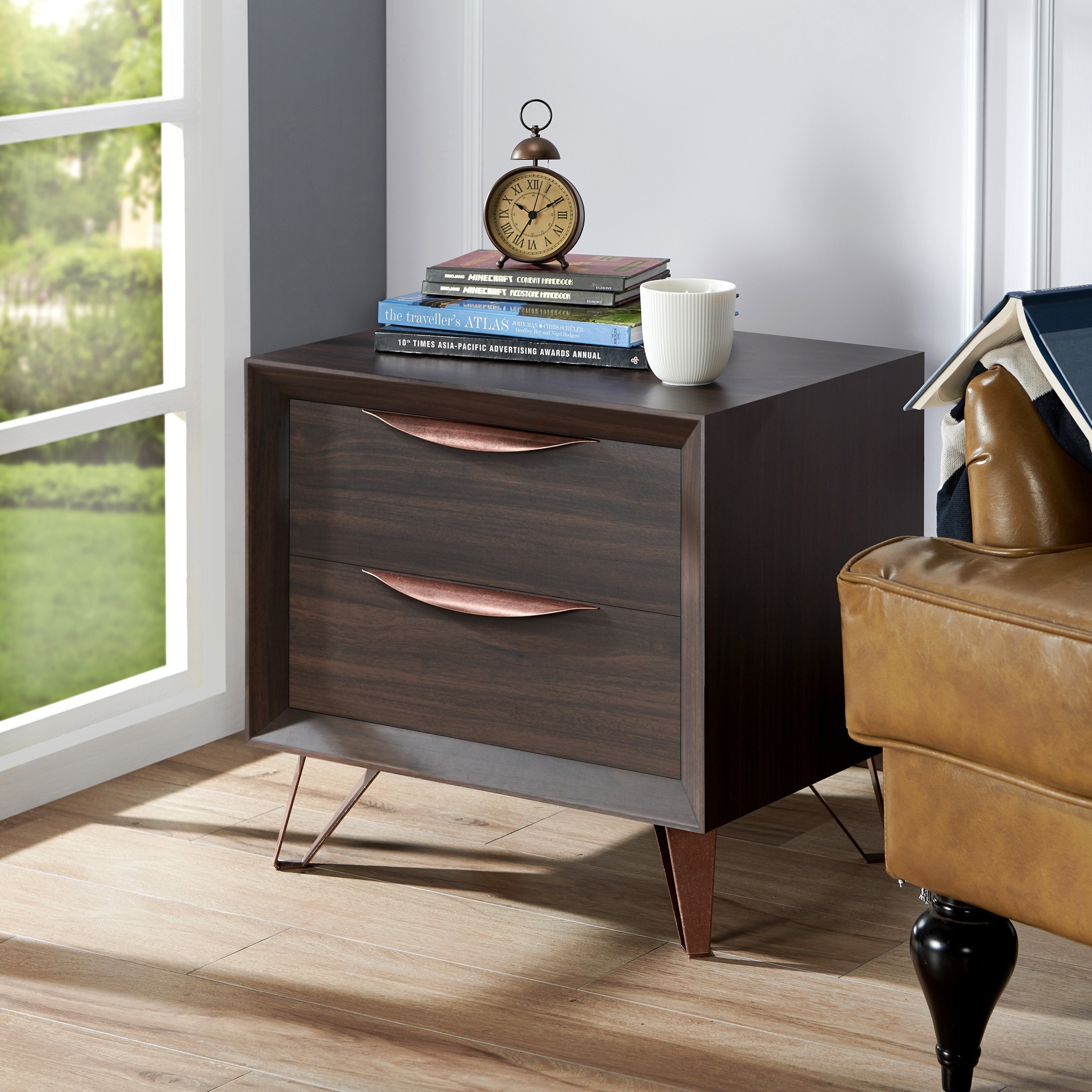 Furniture Of America Taliyah Contemporary Glam 2 Drawer Nightstand  Free