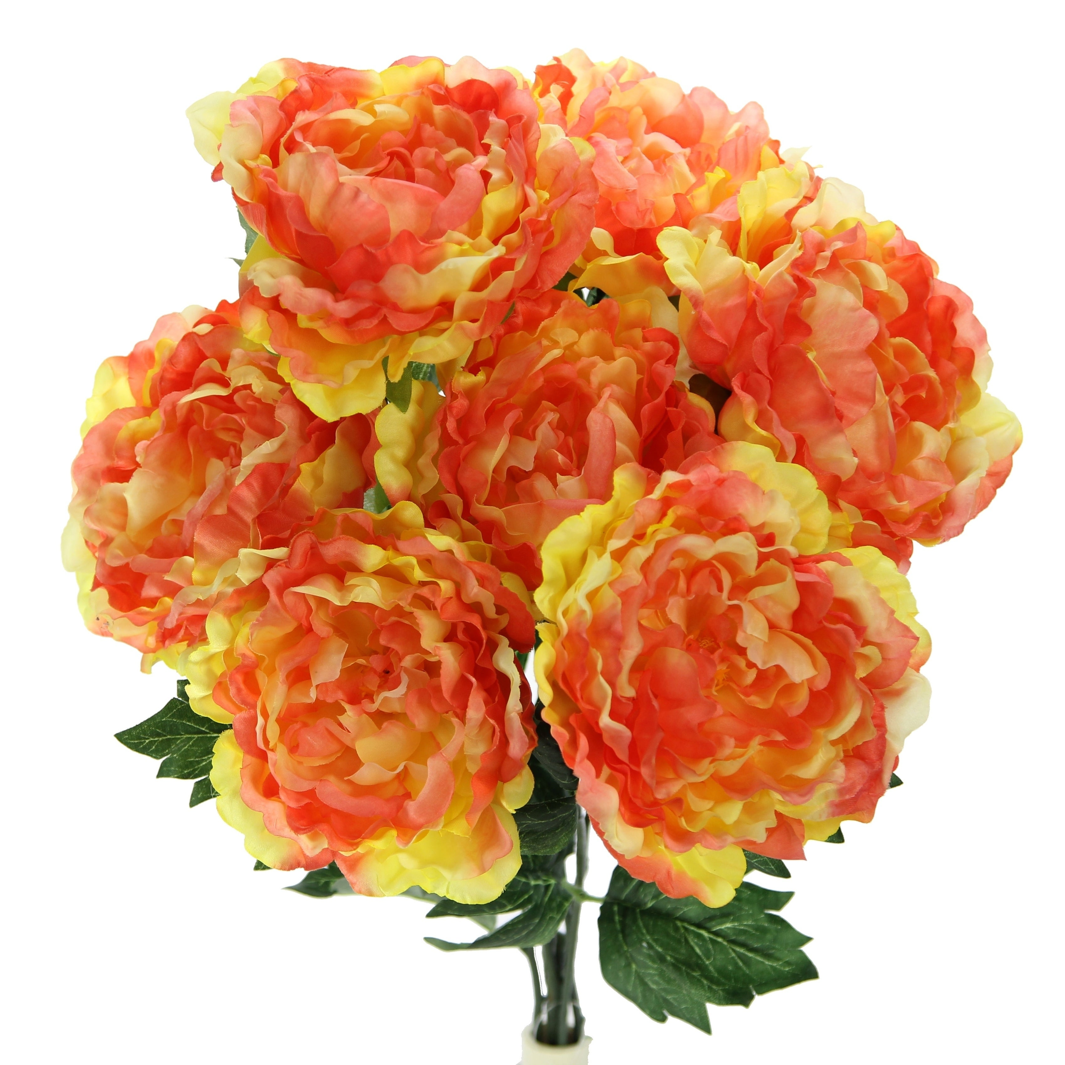 Shop 7 Stems Faux Full Blooming Peony Flower Bush Free Shipping On