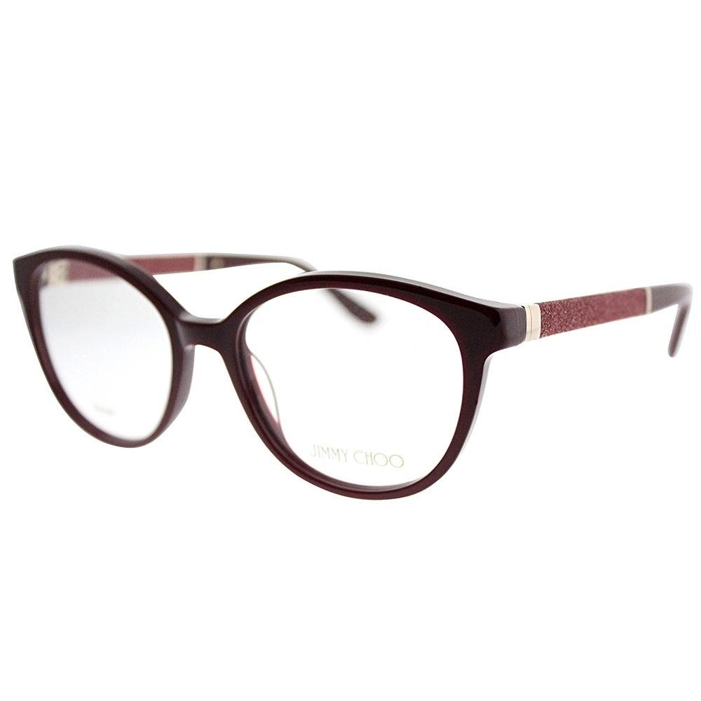 Shop Jimmy Choo Round JC 118 KMN Women Burgundy Frame Eyeglasses ...