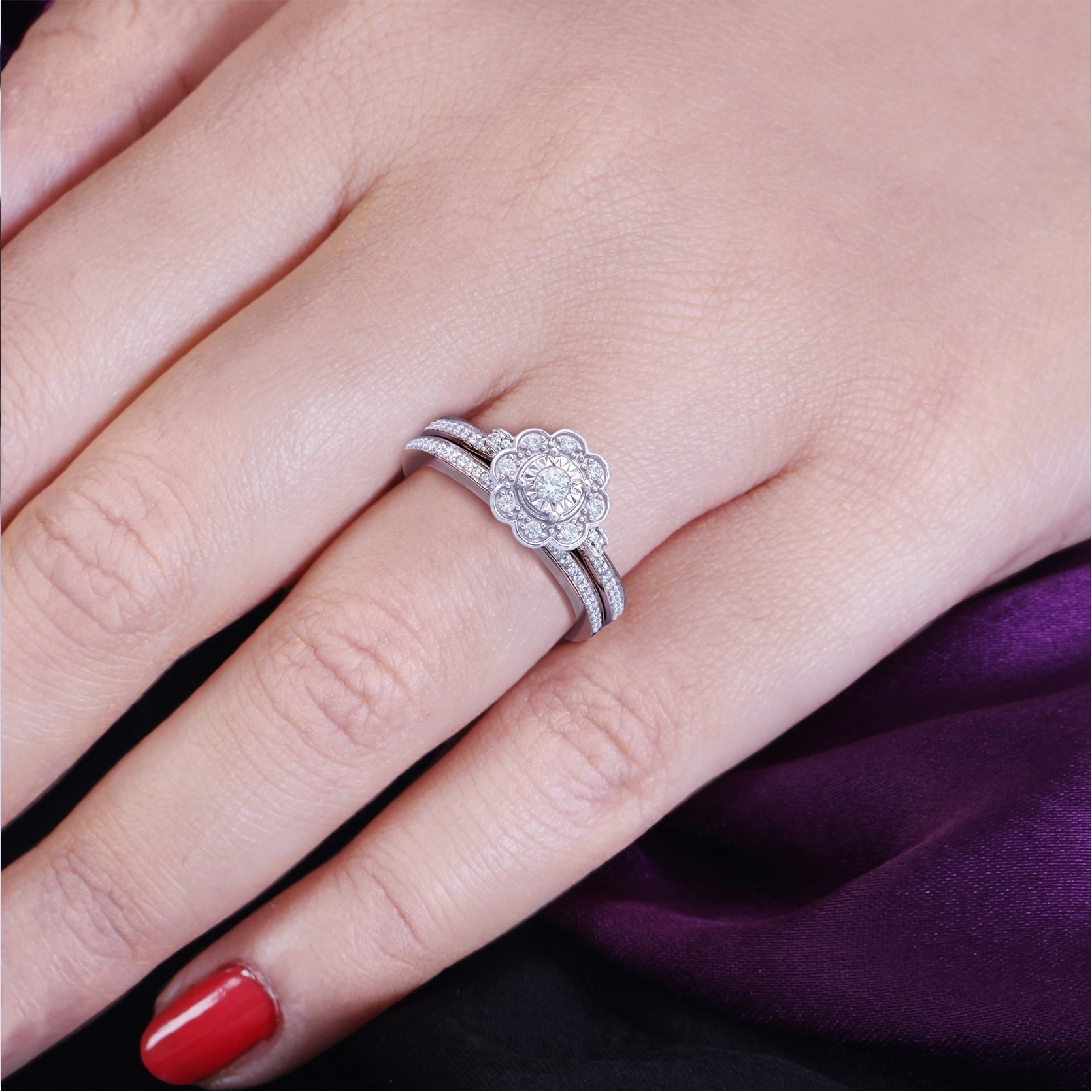 Shop Cali Trove 1/3 Ct Round Diamond Floral Design Engagement ...