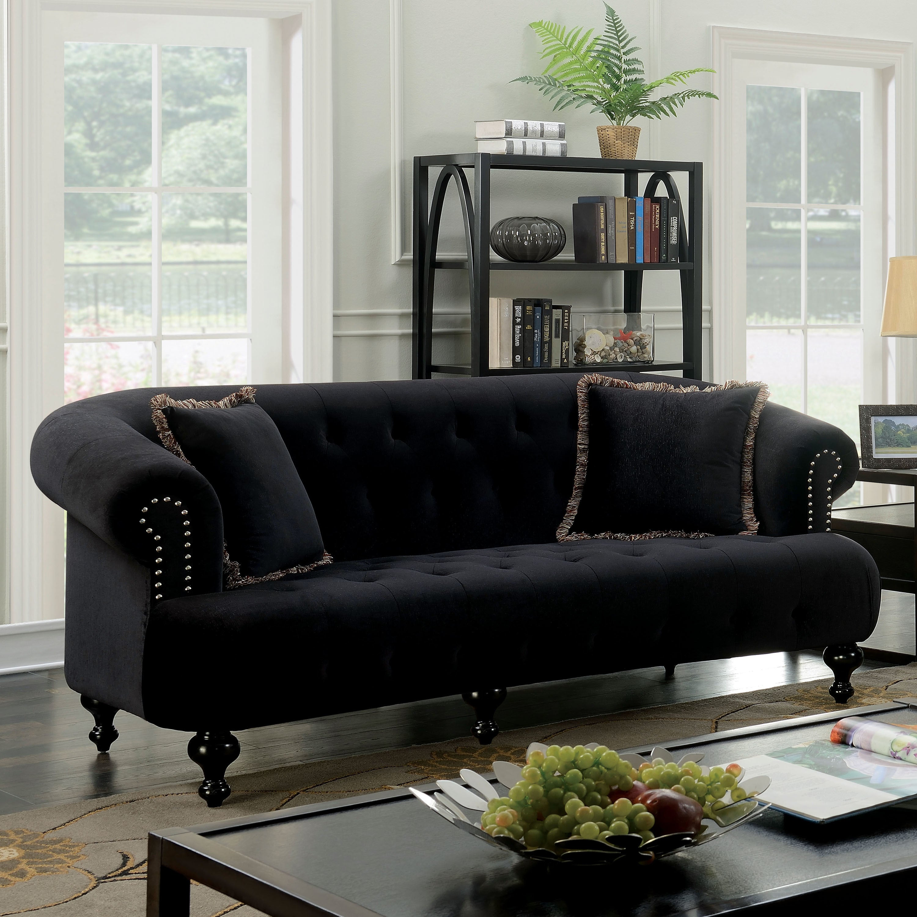 Furniture Of America Lilian Glam Tufted Flannel Sofa Free Shipping Today 19486074