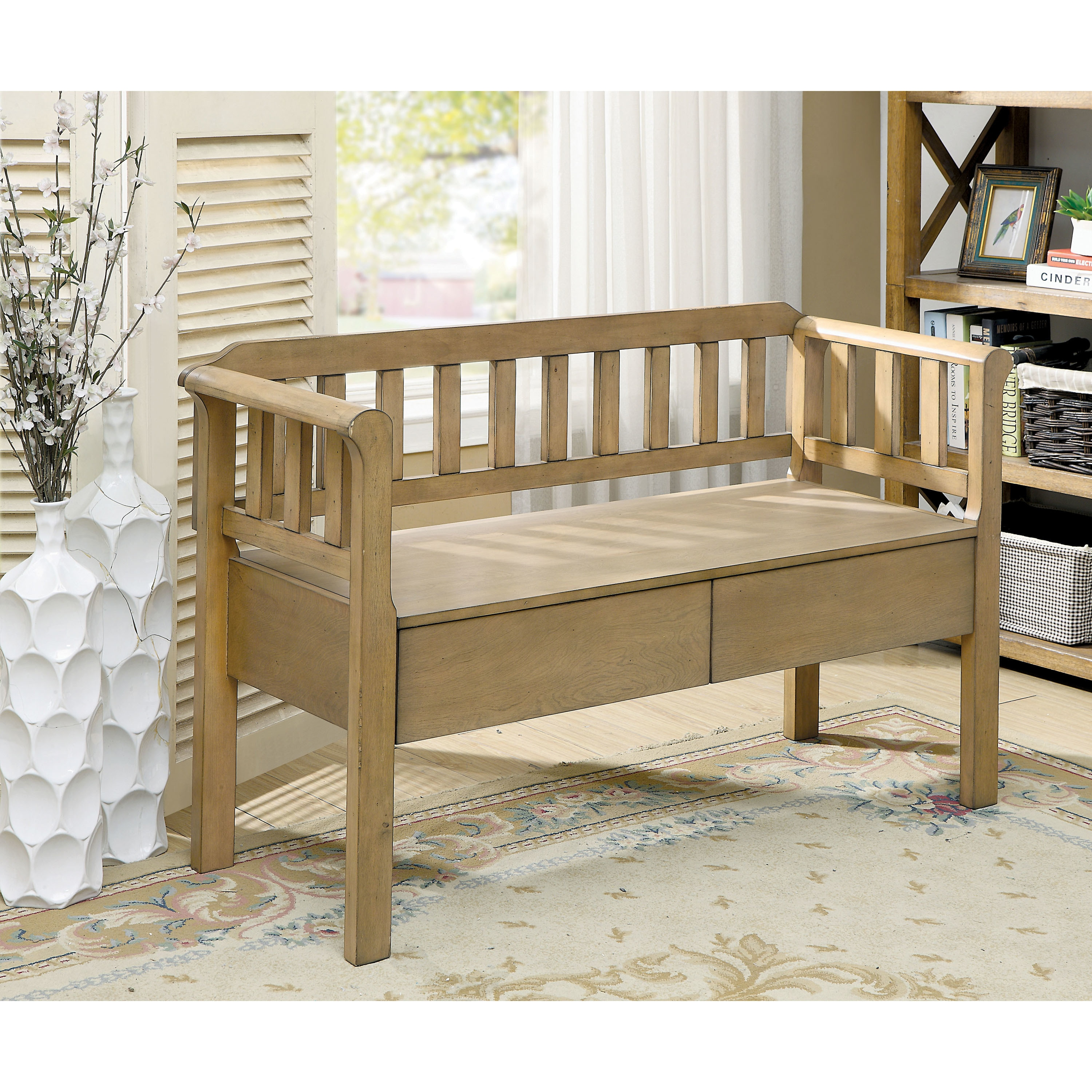 Furniture Of America Trenton Country Style Wood Slatted 2 Drawer Entryway  Bench   Free Shipping Today   Overstock   25484949