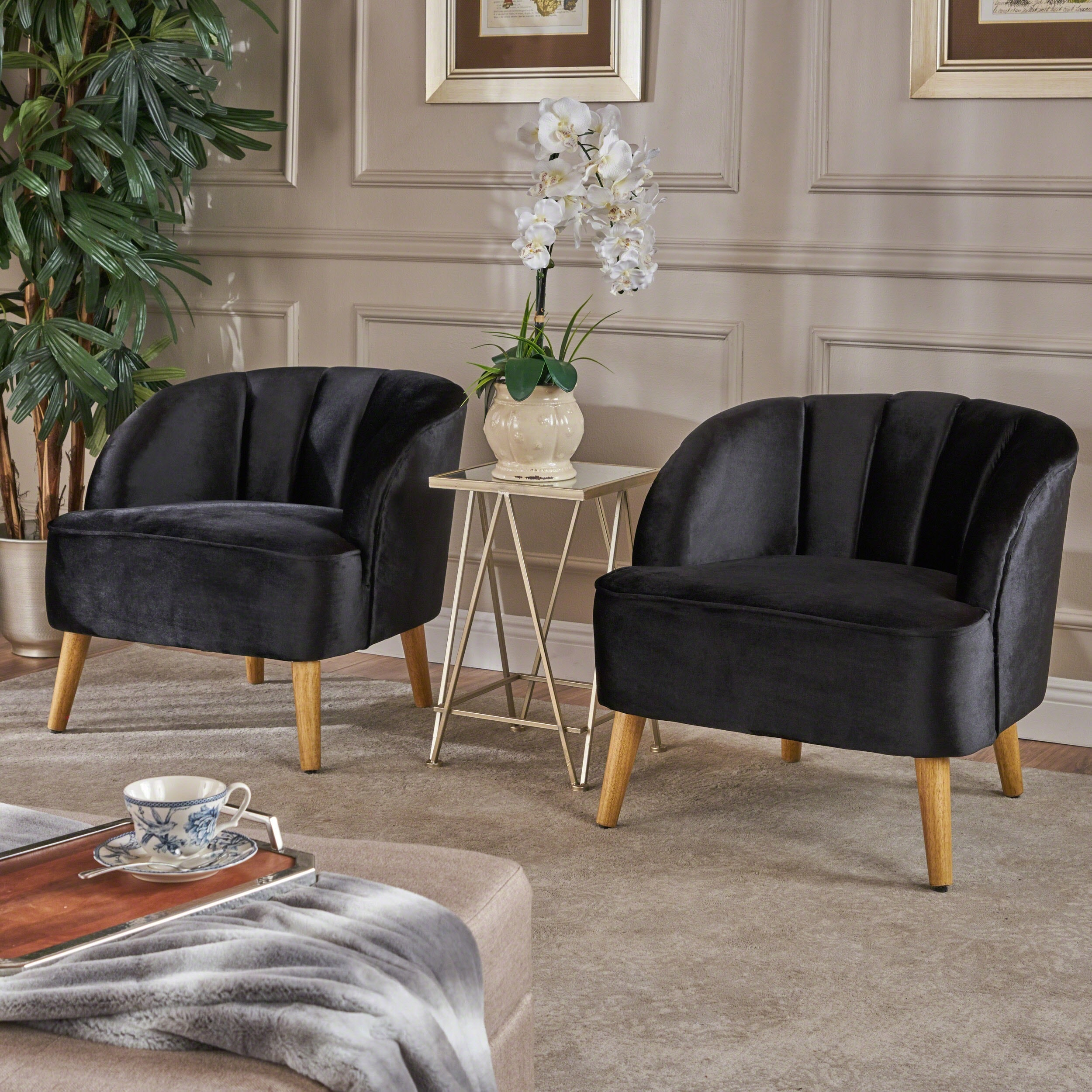 Amaia Modern Velvet Club Chair Set Of 2 By Christopher Knight Home On Free Shipping Today 19490564