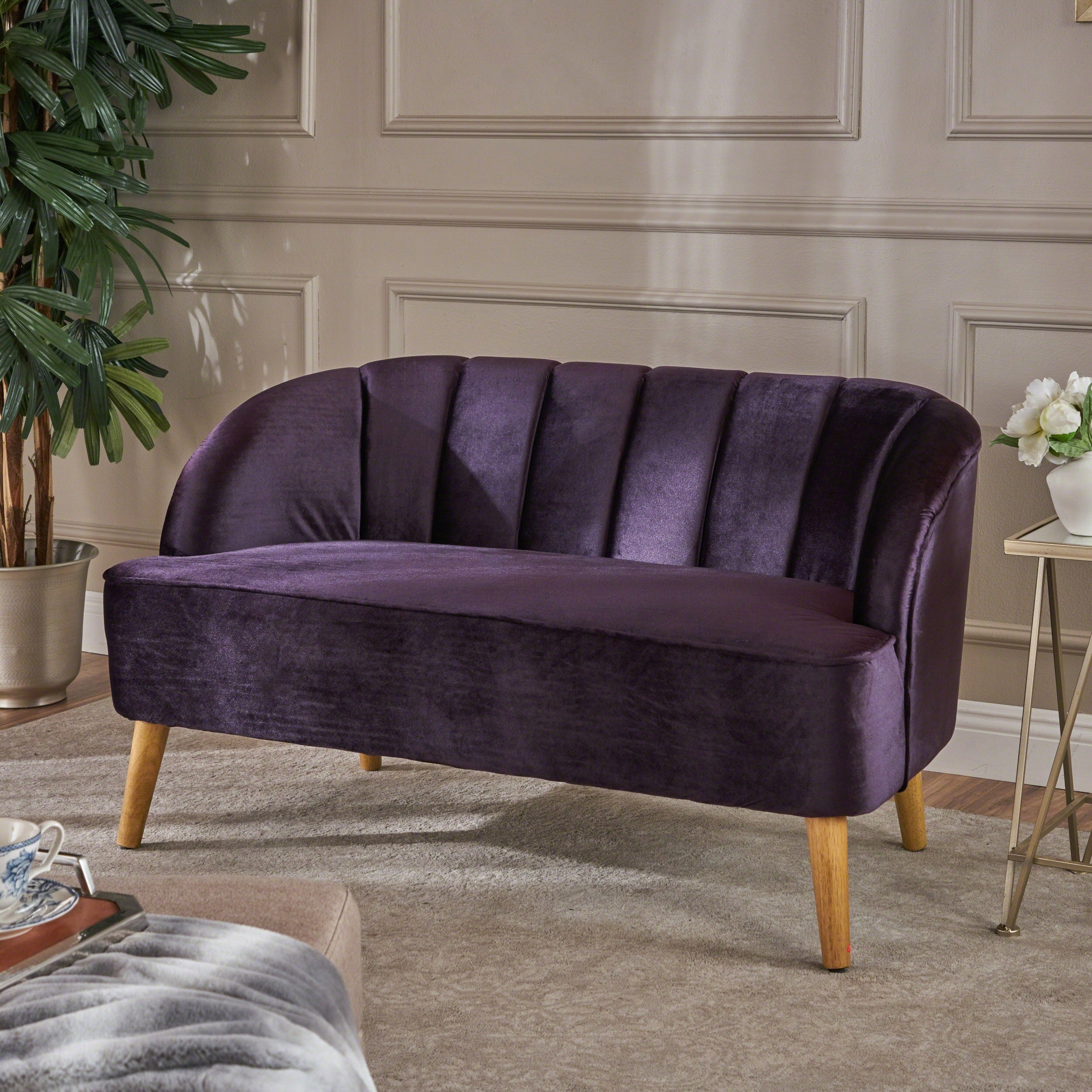 Amaia Modern Velvet Loveseat Sofa By Christopher Knight Home   Free  Shipping Today   Overstock   25486819