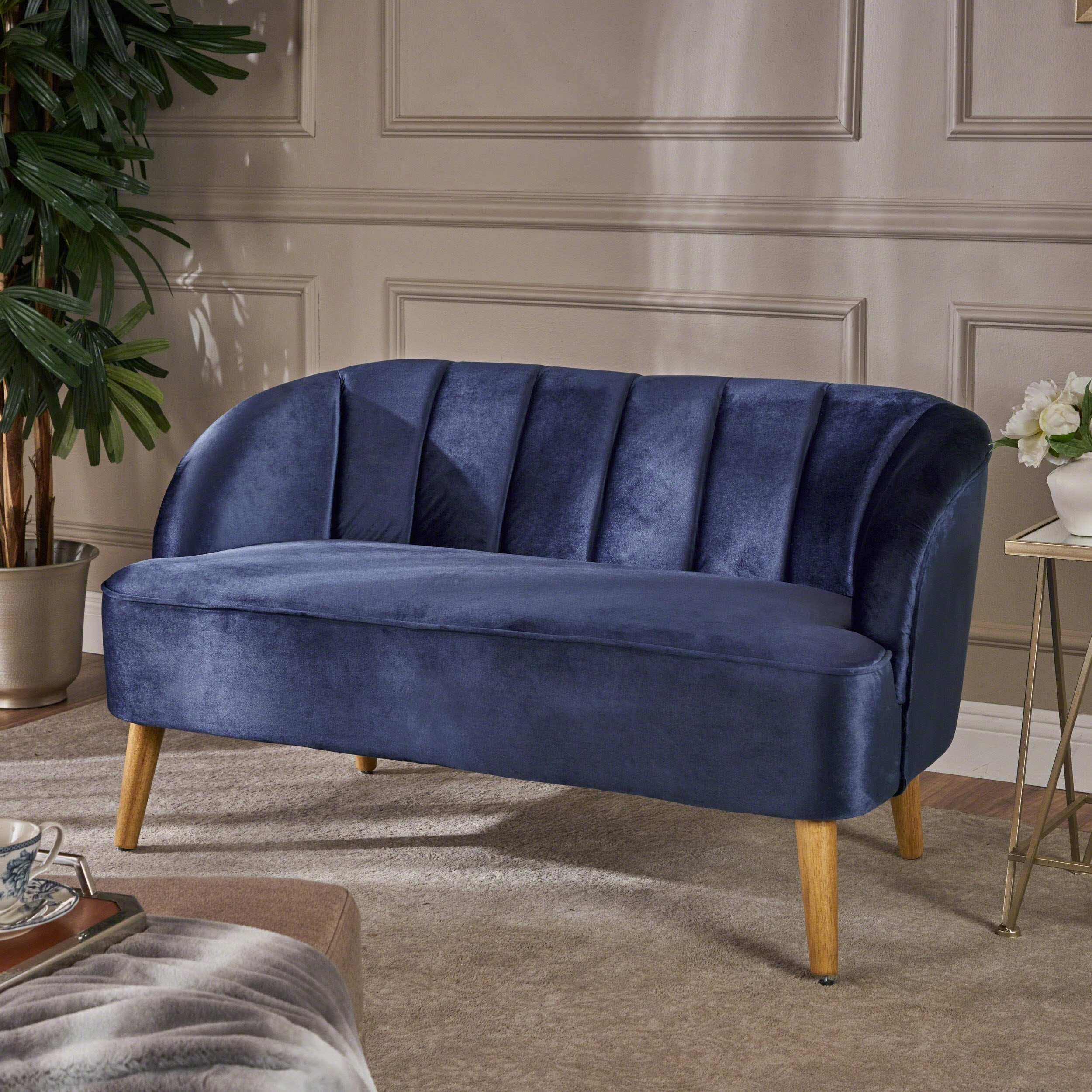Amaia Modern Velvet Loveseat Sofa By Christopher Knight Home On Free Shipping Today 19490660
