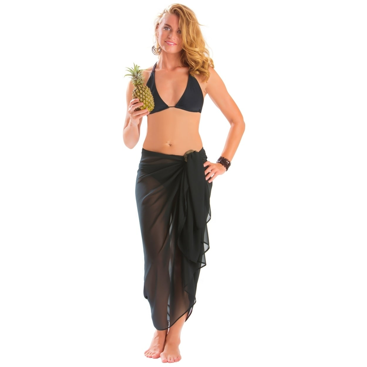 98715fdf520ba Shop Full Size Sheer Sarong in Black - On Sale - Free Shipping On ...