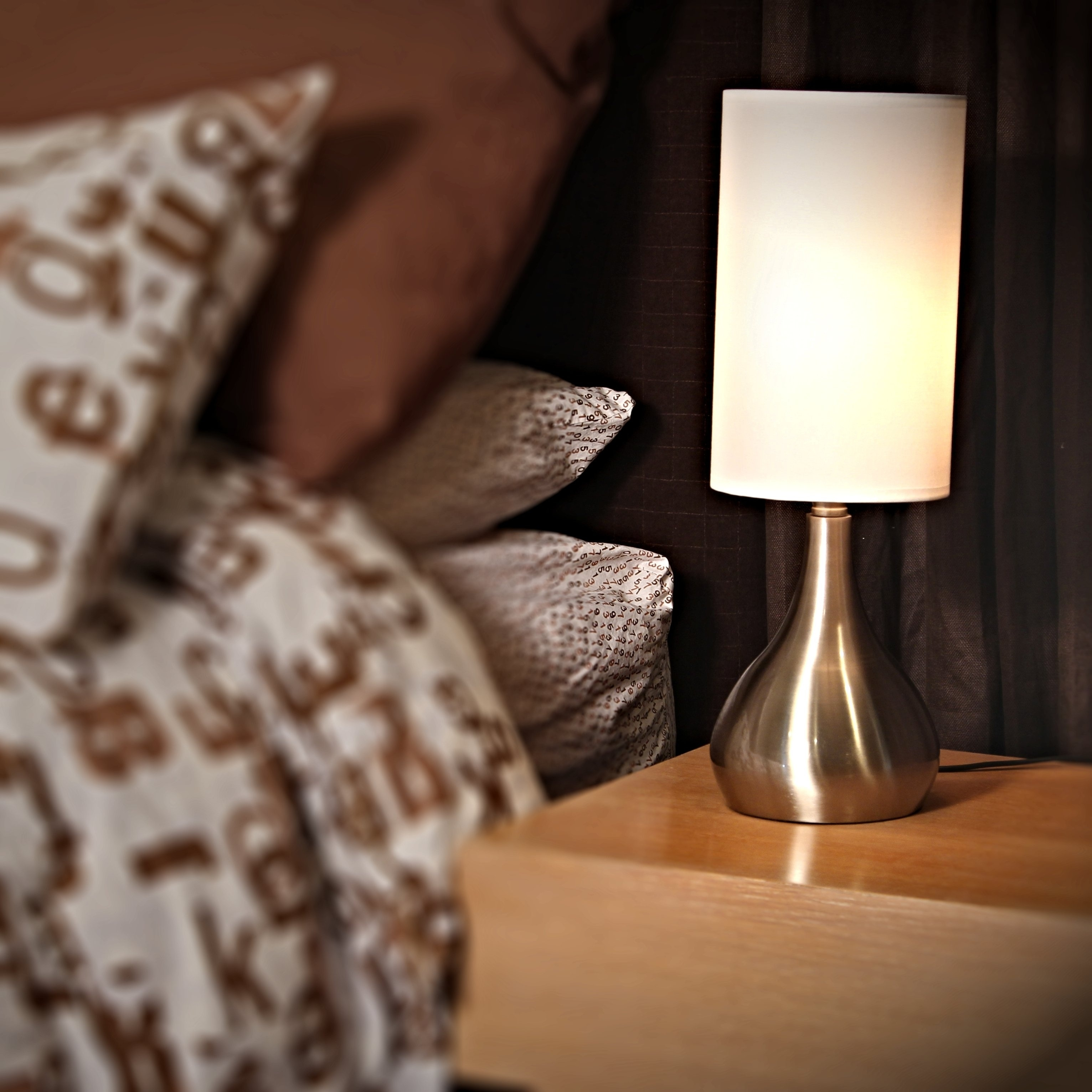 Decor Works Touch Table Lamp 18 Inches Tall Brushed Nickel With Fabric Shade