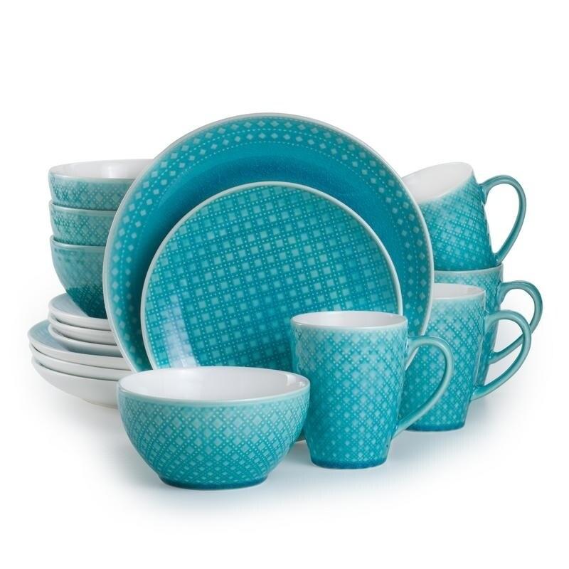 Euro Ceramica Palma 16-piece Crackle-glaze Dinnerware Set (Service for 4)  sc 1 st  Overstock.com & Euro Ceramica Palma 16-piece Crackle-glaze Dinnerware Set (Service ...