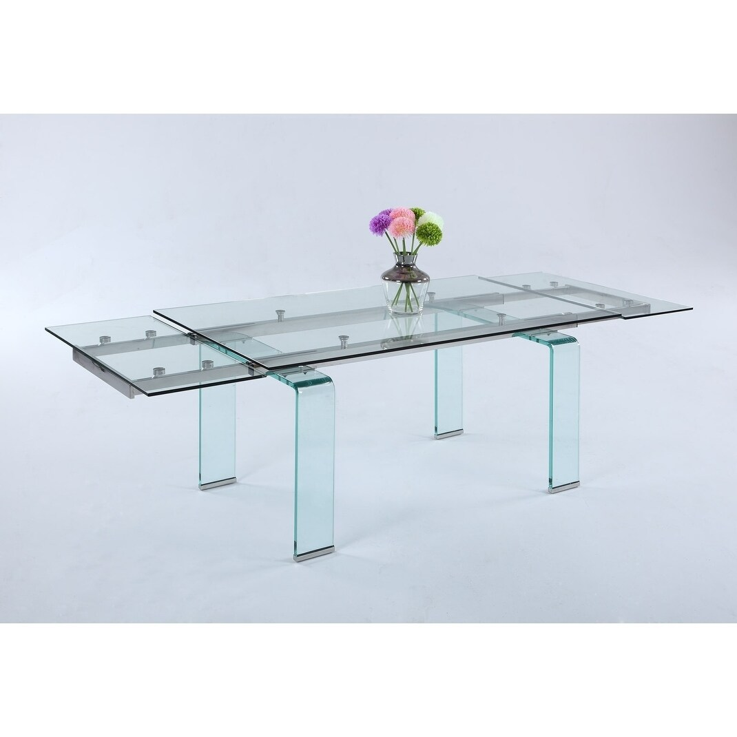 Shop Somette Madeline Rectangular Dining Table With Folding Glass  Extension.   Free Shipping Today   Overstock.com   19495068