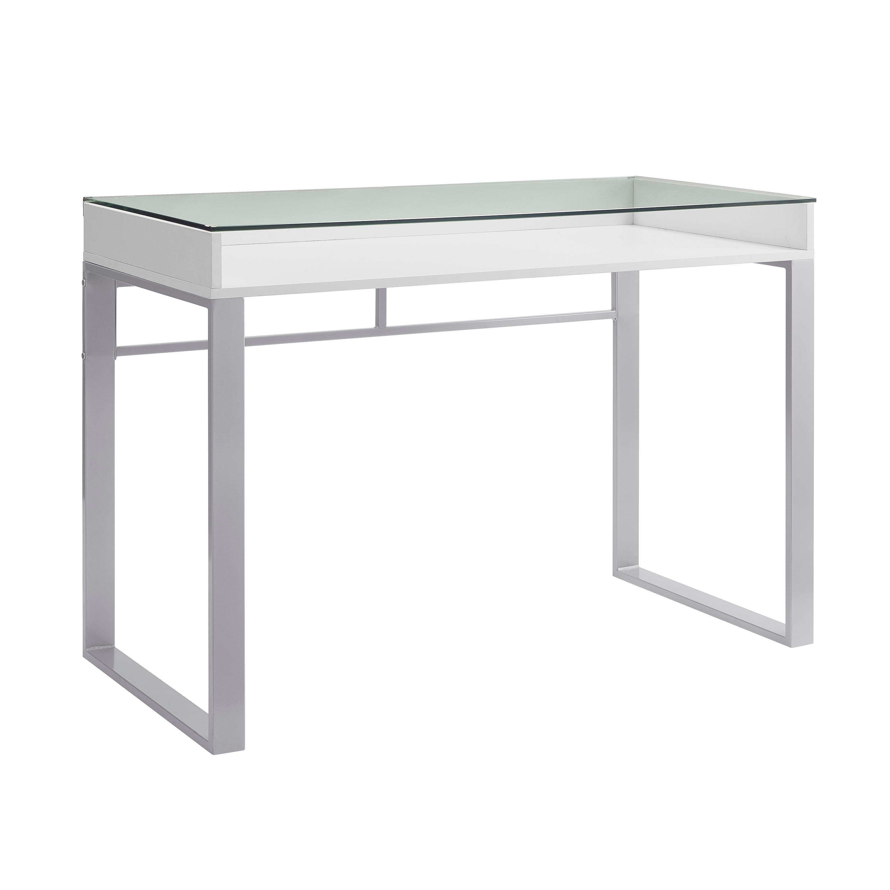 42 Inch Modern Glass Top Writing Desk  Free Shipping Today
