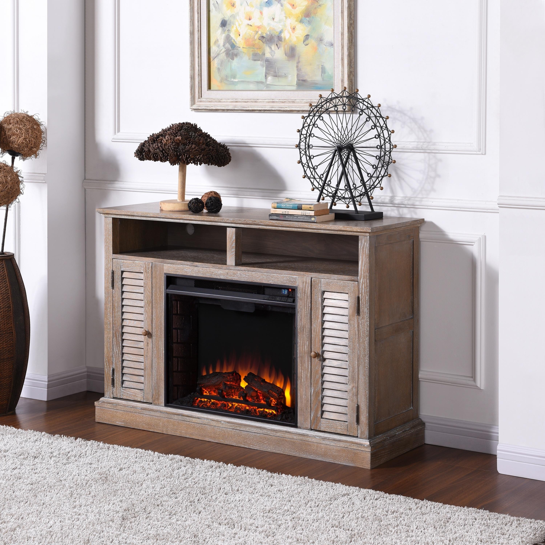 Shop Copper Grove Hertz Burnt Oak Infrared Fireplace Tv Stand Free