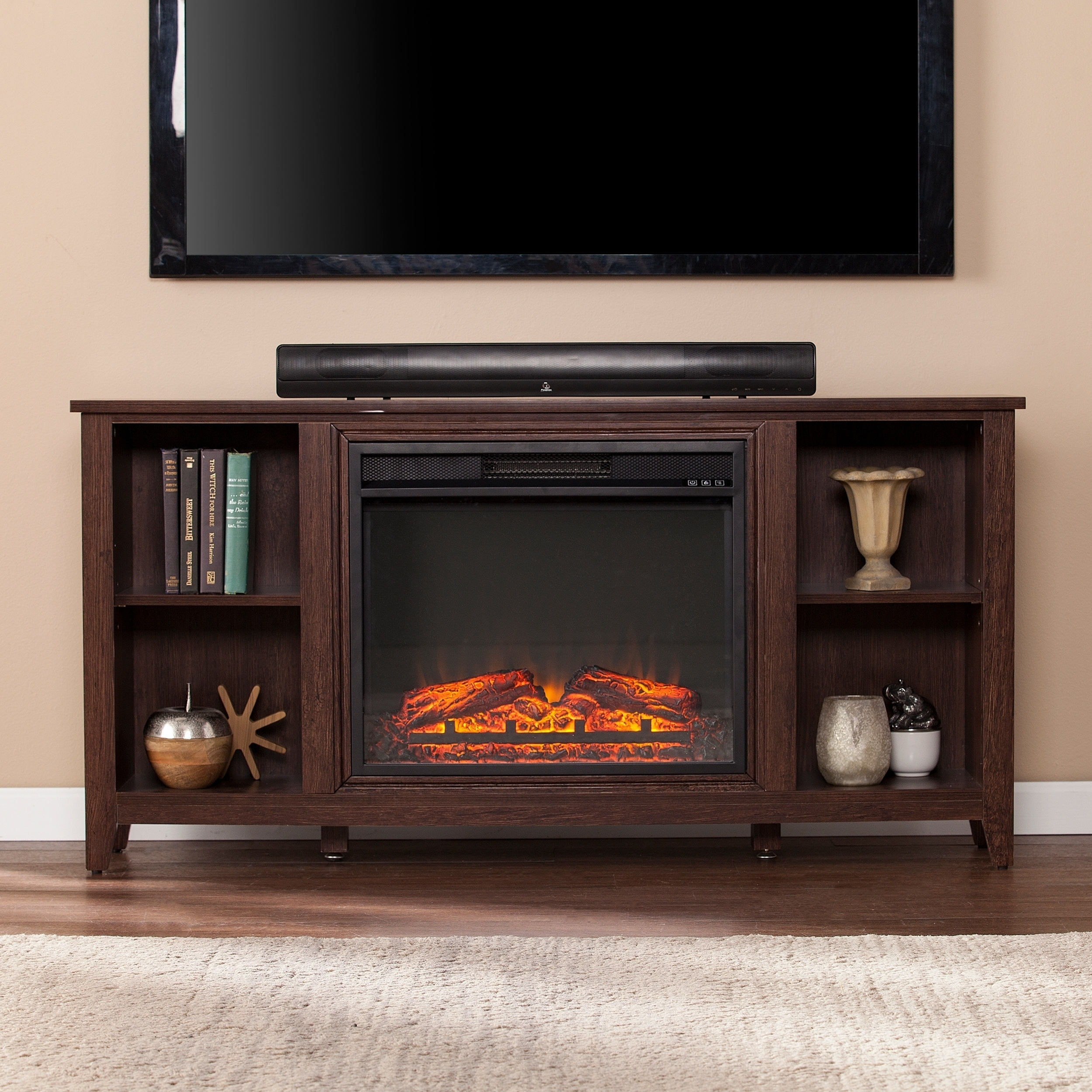 black console curved fireplace entertainment brighton suites electric in center novara media heater friday warm glass house coffee