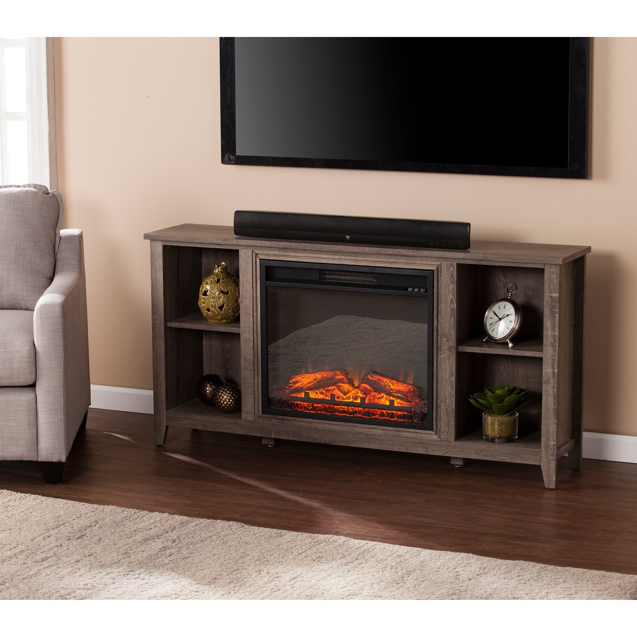 corner pdx electric fireplace tv lynette furniture stand flame real reviews wayfair