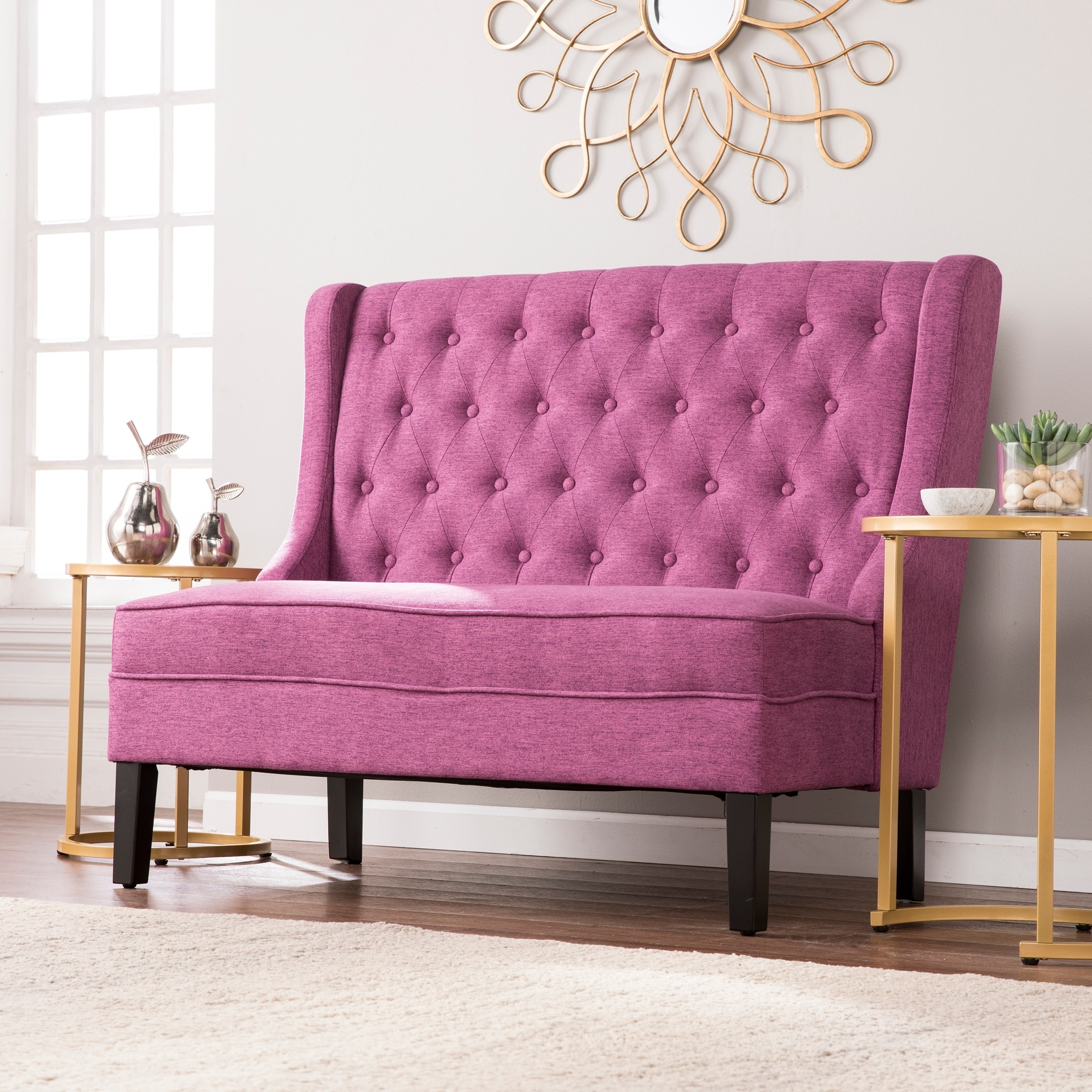 high blvd product today home harper free charcoal tufted settee bench overstock back shipping lincoln garden