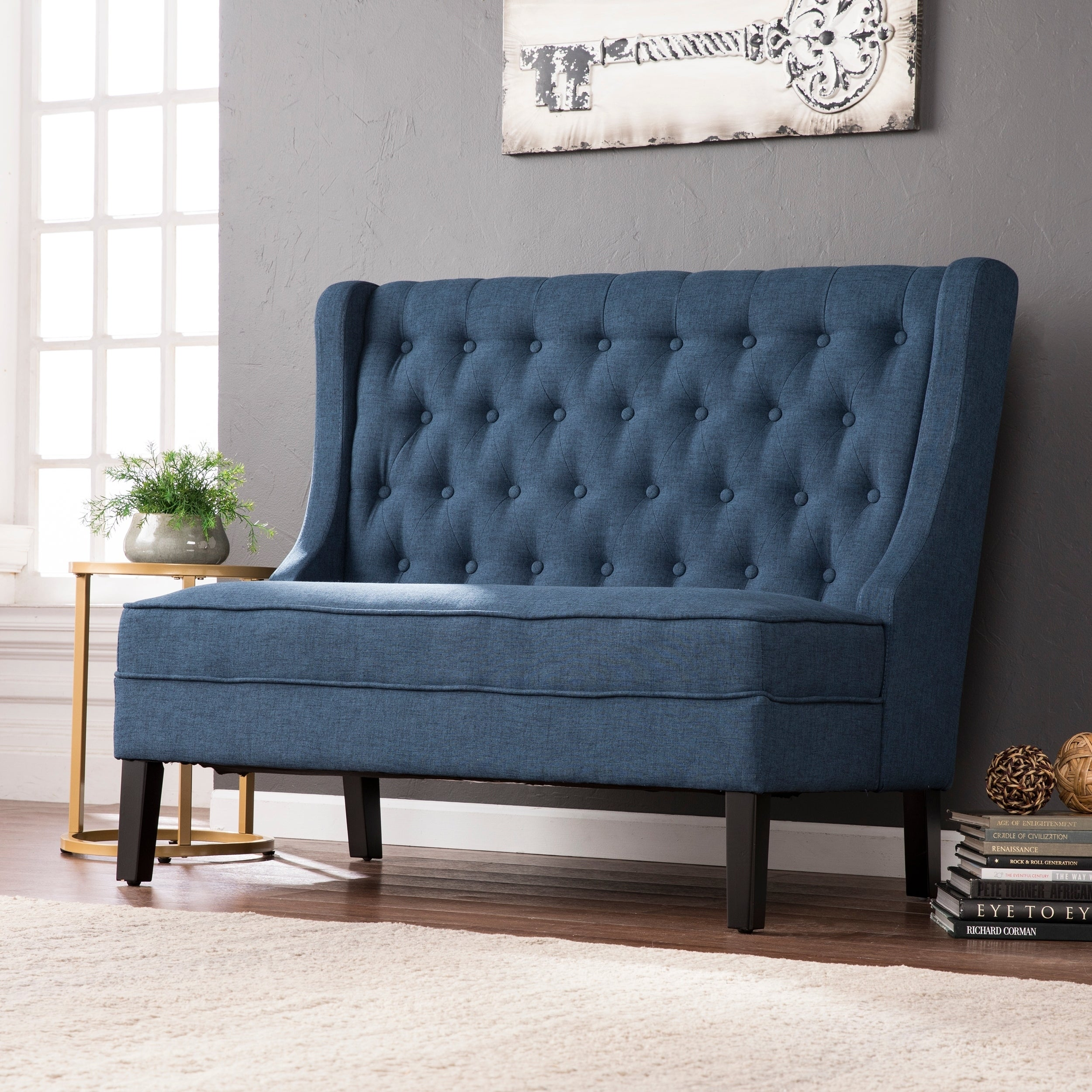 Harper Blvd Lincoln Charcoal High Back Tufted Settee Bench Free
