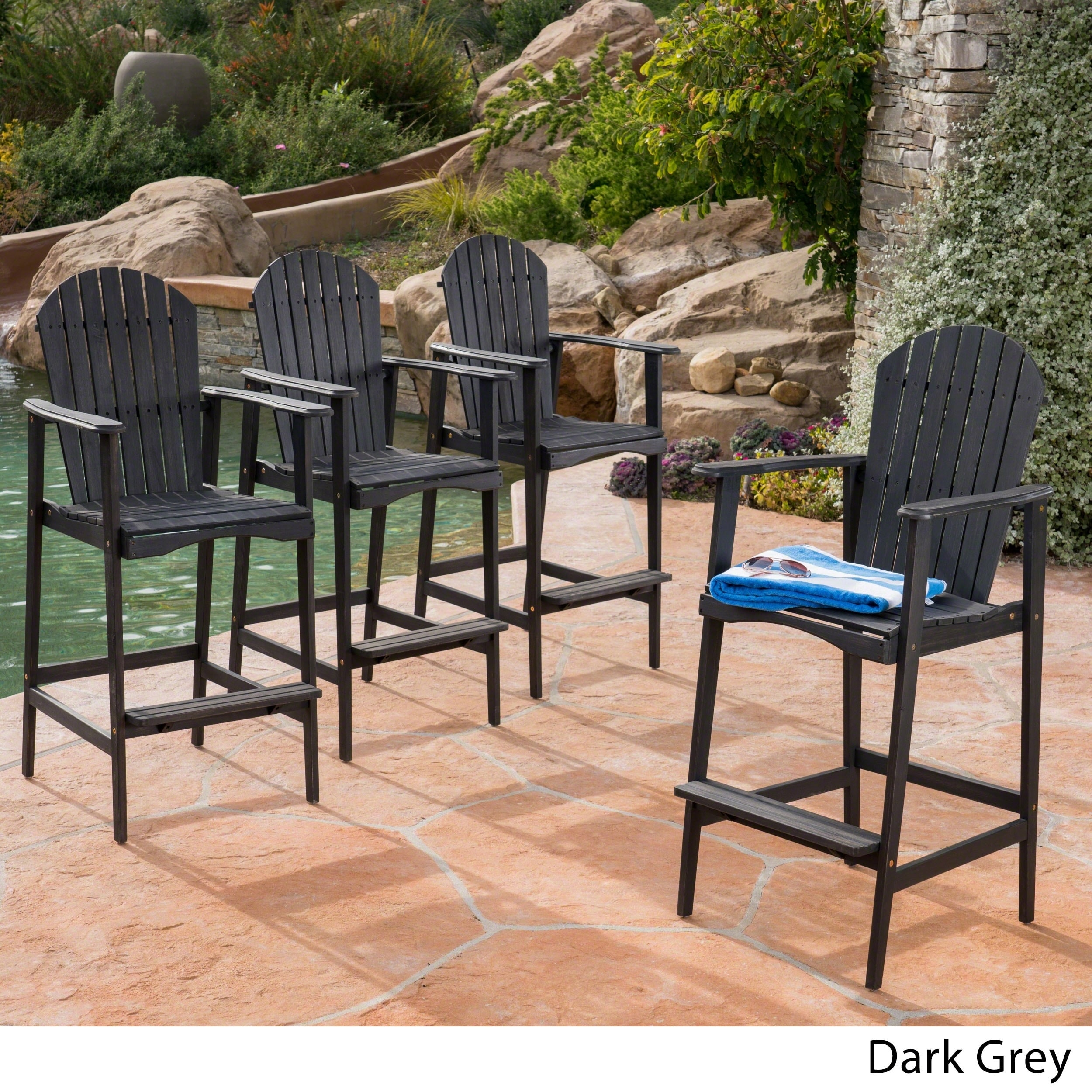 Shop Malibu Outdoor Wood Acacia Barstool (Set Of 4) By Christopher Knight  Home   Free Shipping Today   Overstock.com   19496731