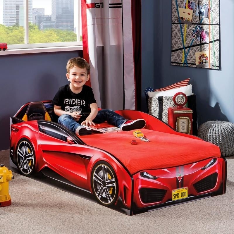 Shop Cilek Spyder Toddler Race Car Bed Free Shipping Today
